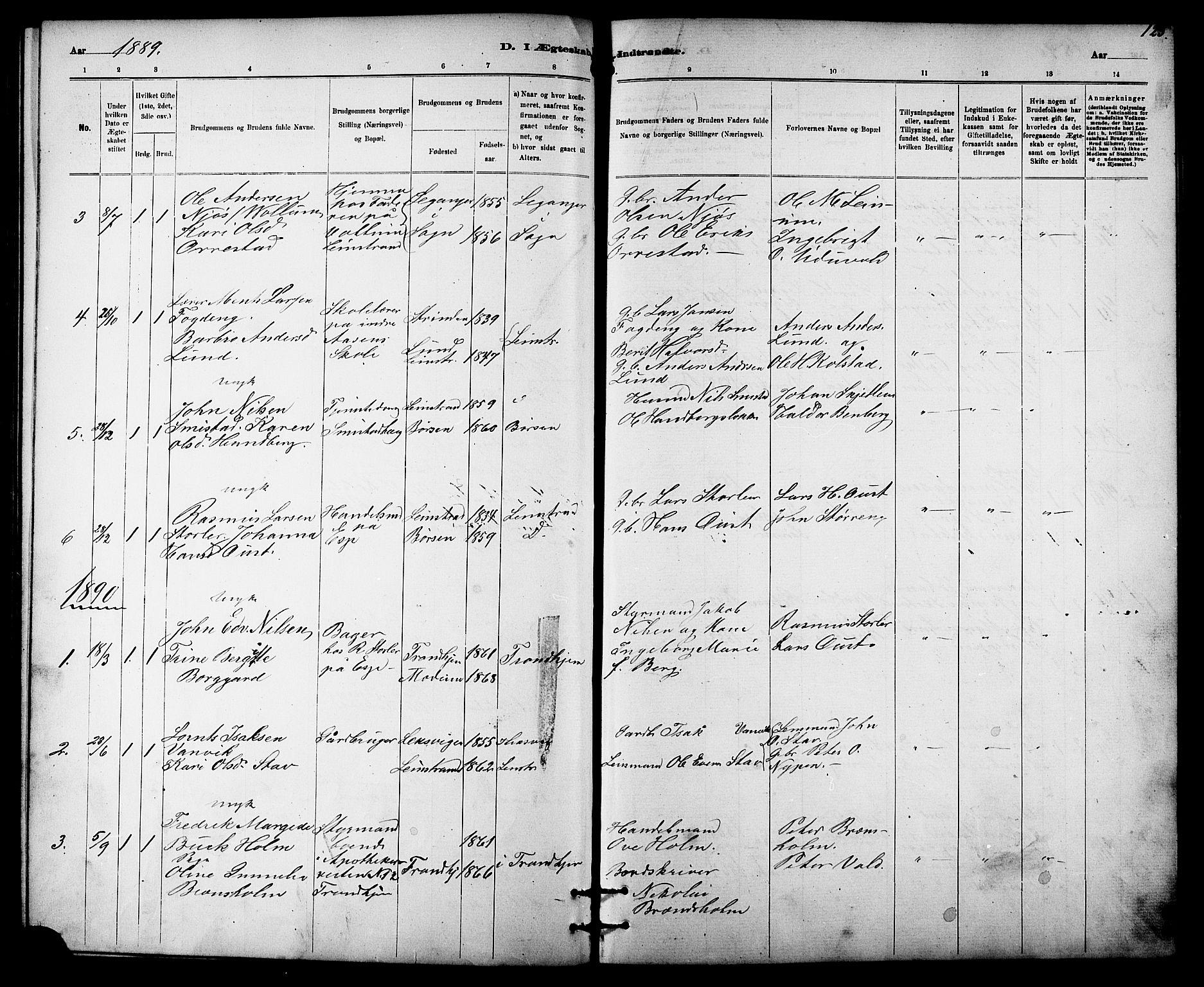 SAT, Ministerialprotokoller, klokkerbøker og fødselsregistre - Sør-Trøndelag, 613/L0395: Klokkerbok nr. 613C03, 1887-1909, s. 125