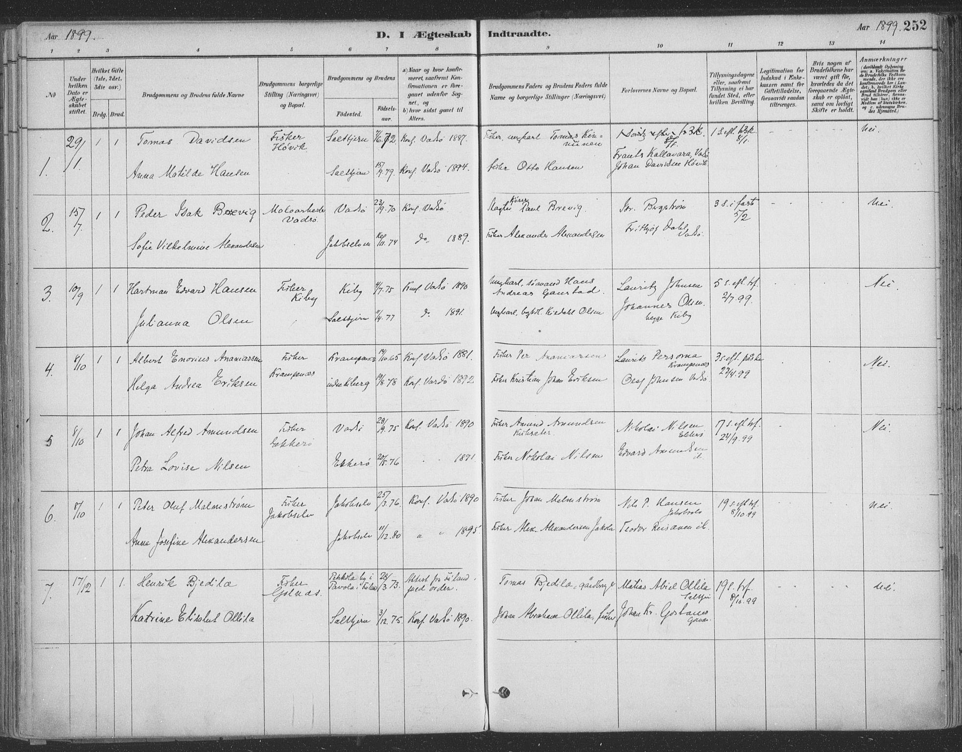 SATØ, Vadsø sokneprestkontor, H/Ha/L0009kirke: Ministerialbok nr. 9, 1881-1917, s. 252