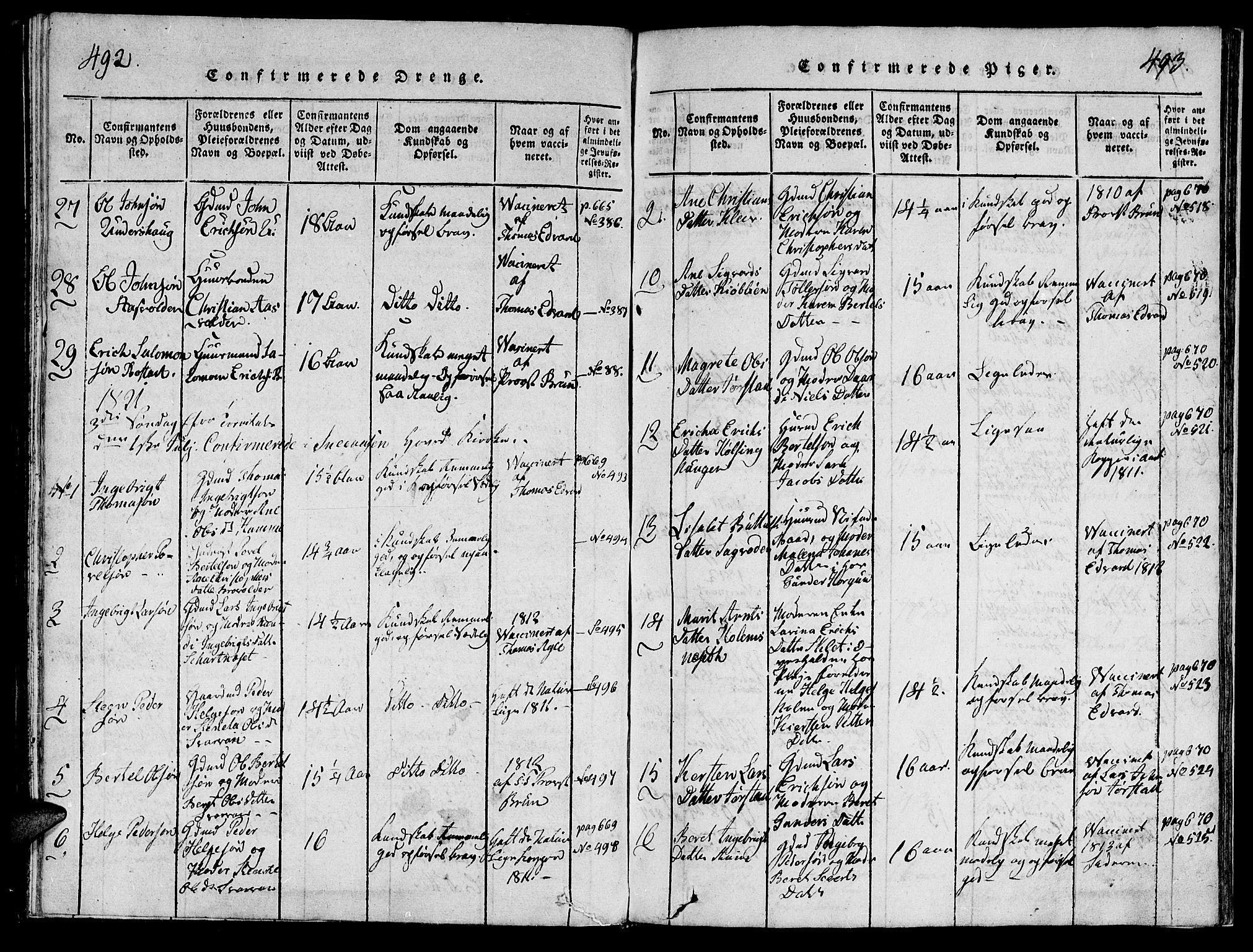 SAT, Ministerialprotokoller, klokkerbøker og fødselsregistre - Nord-Trøndelag, 749/L0479: Klokkerbok nr. 749C01, 1817-1829, s. 492-493