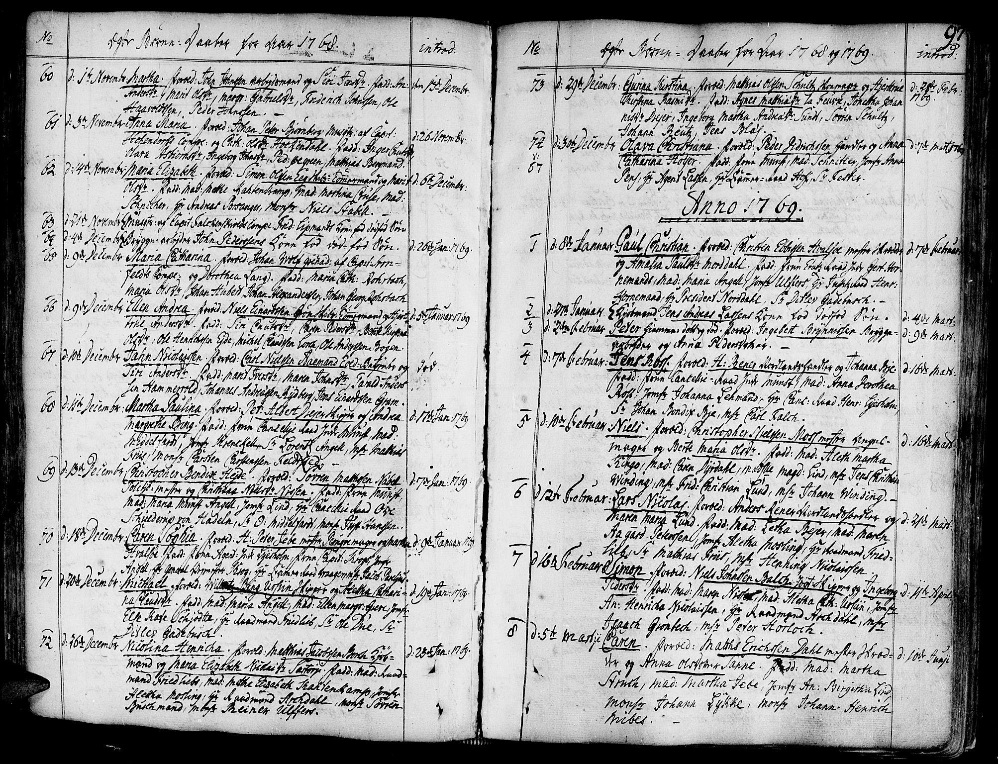 SAT, Ministerialprotokoller, klokkerbøker og fødselsregistre - Sør-Trøndelag, 602/L0103: Ministerialbok nr. 602A01, 1732-1774, s. 97
