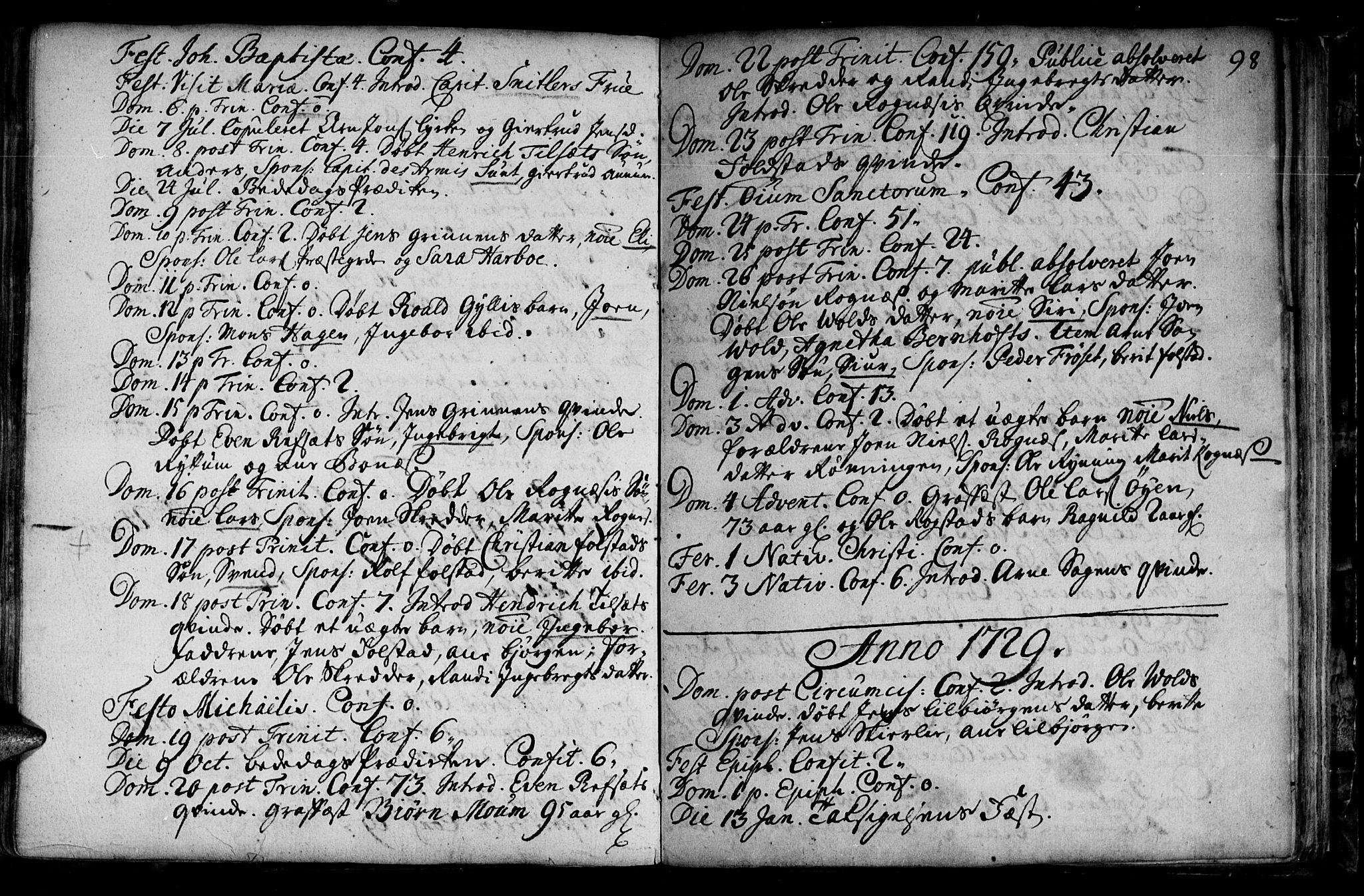 SAT, Ministerialprotokoller, klokkerbøker og fødselsregistre - Sør-Trøndelag, 687/L0990: Ministerialbok nr. 687A01, 1690-1746, s. 98