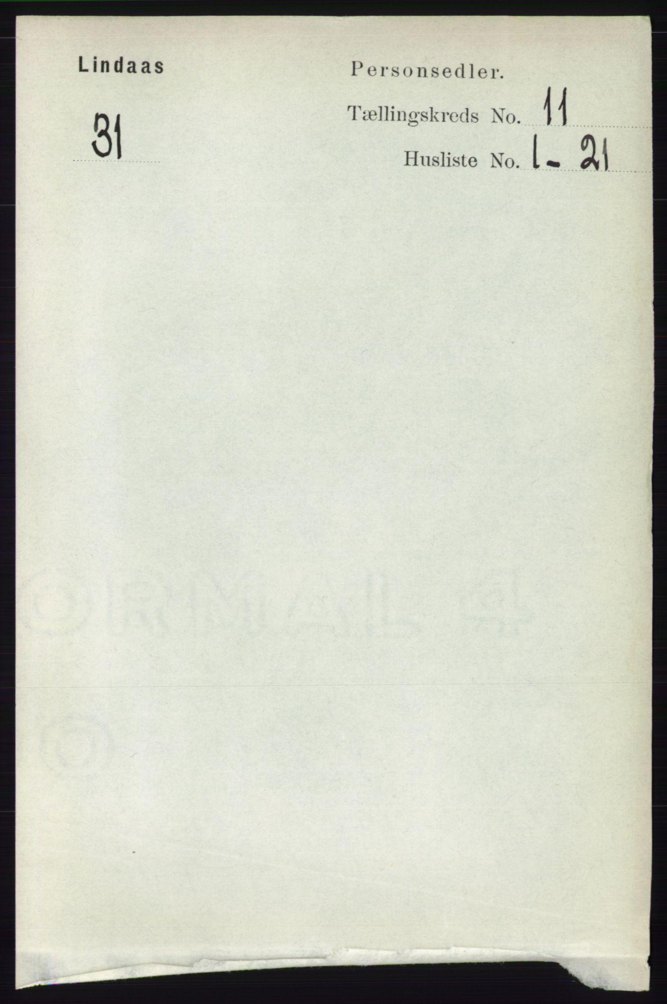 RA, Folketelling 1891 for 1263 Lindås herred, 1891, s. 3656
