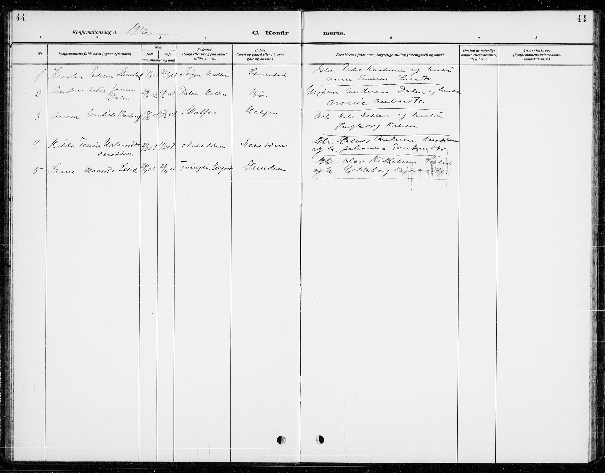 SAKO, Holla kirkebøker, G/Gb/L0003: Klokkerbok nr. II 3, 1914-1941, s. 44