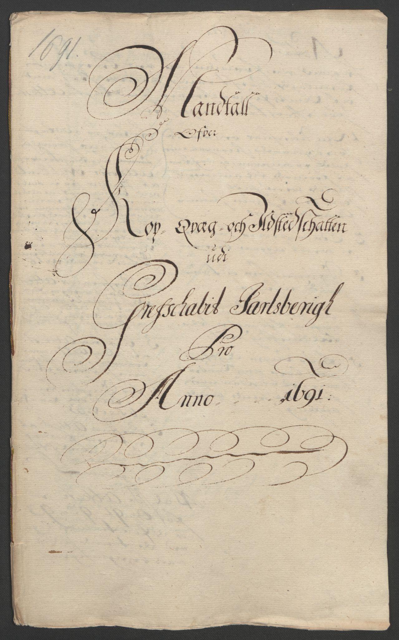 RA, Rentekammeret inntil 1814, Reviderte regnskaper, Fogderegnskap, R32/L1864: Fogderegnskap Jarlsberg grevskap, 1691, s. 161