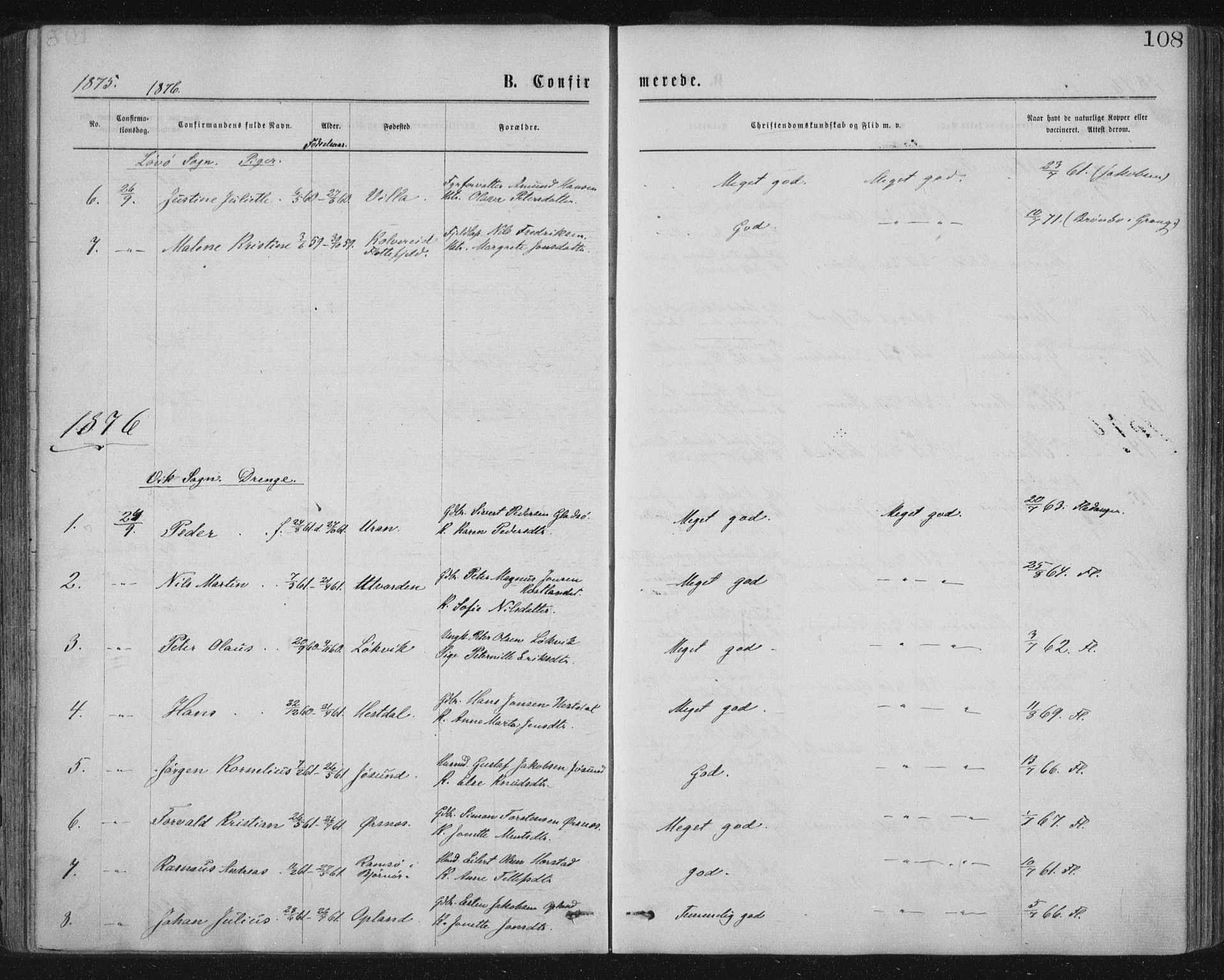 SAT, Ministerialprotokoller, klokkerbøker og fødselsregistre - Nord-Trøndelag, 771/L0596: Ministerialbok nr. 771A03, 1870-1884, s. 108