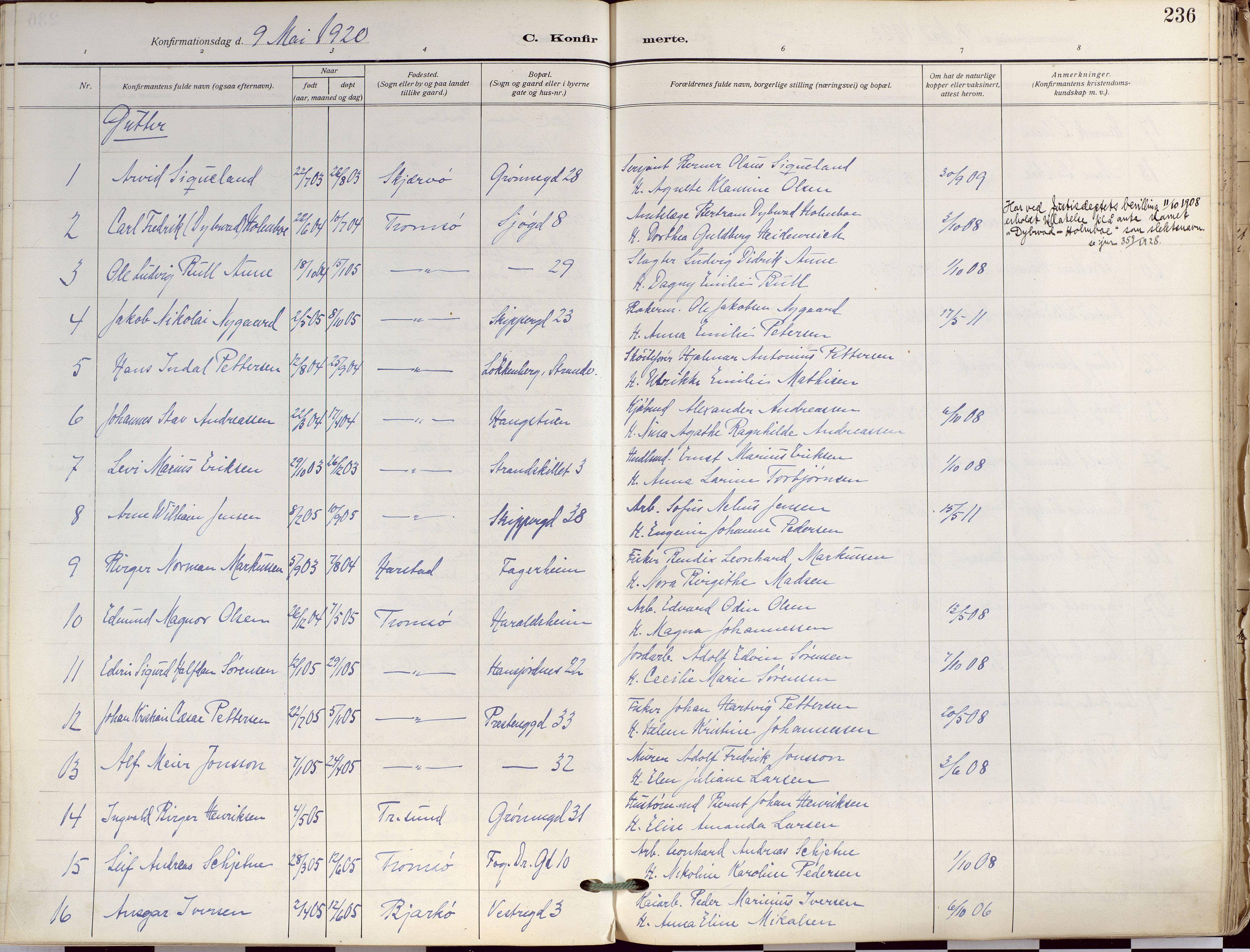 SATØ, Tromsø sokneprestkontor/stiftsprosti/domprosti, G/Ga/L0019kirke: Ministerialbok nr. 19, 1917-1927, s. 236