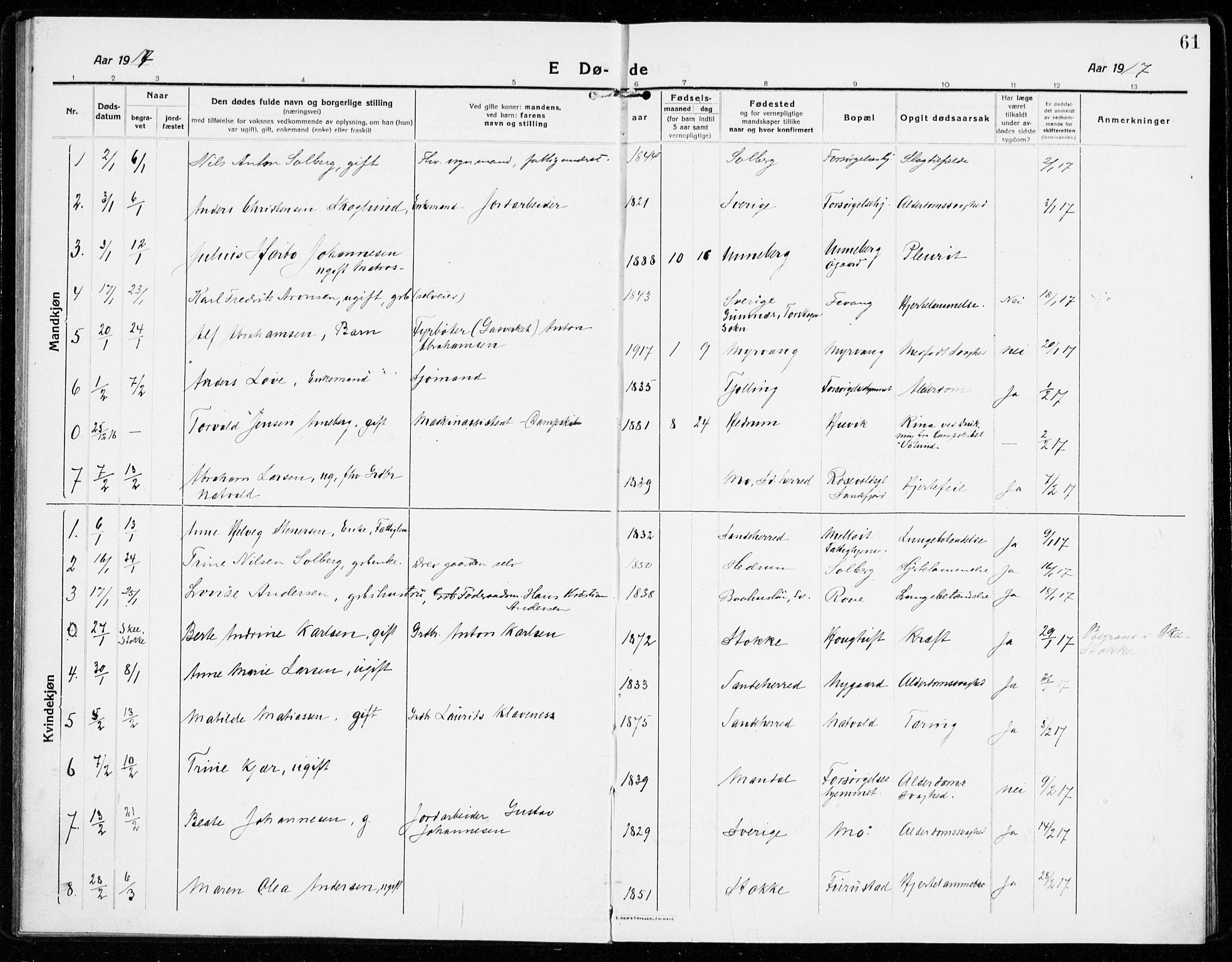 SAKO, Sandar kirkebøker, F/Fa/L0020: Ministerialbok nr. 20, 1915-1919, s. 61
