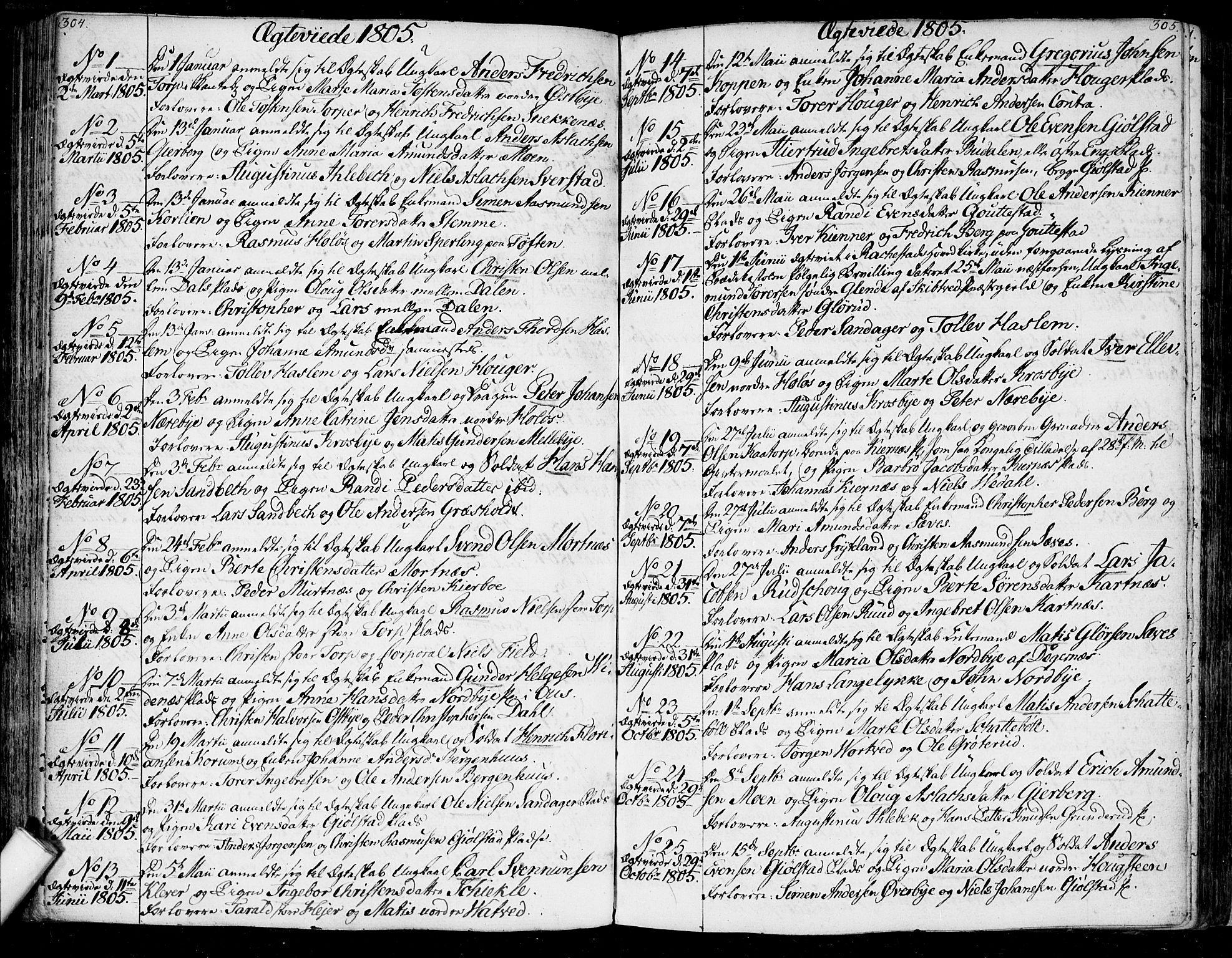 SAO, Rakkestad prestekontor Kirkebøker, F/Fa/L0005: Ministerialbok nr. I 5, 1784-1814, s. 304-305