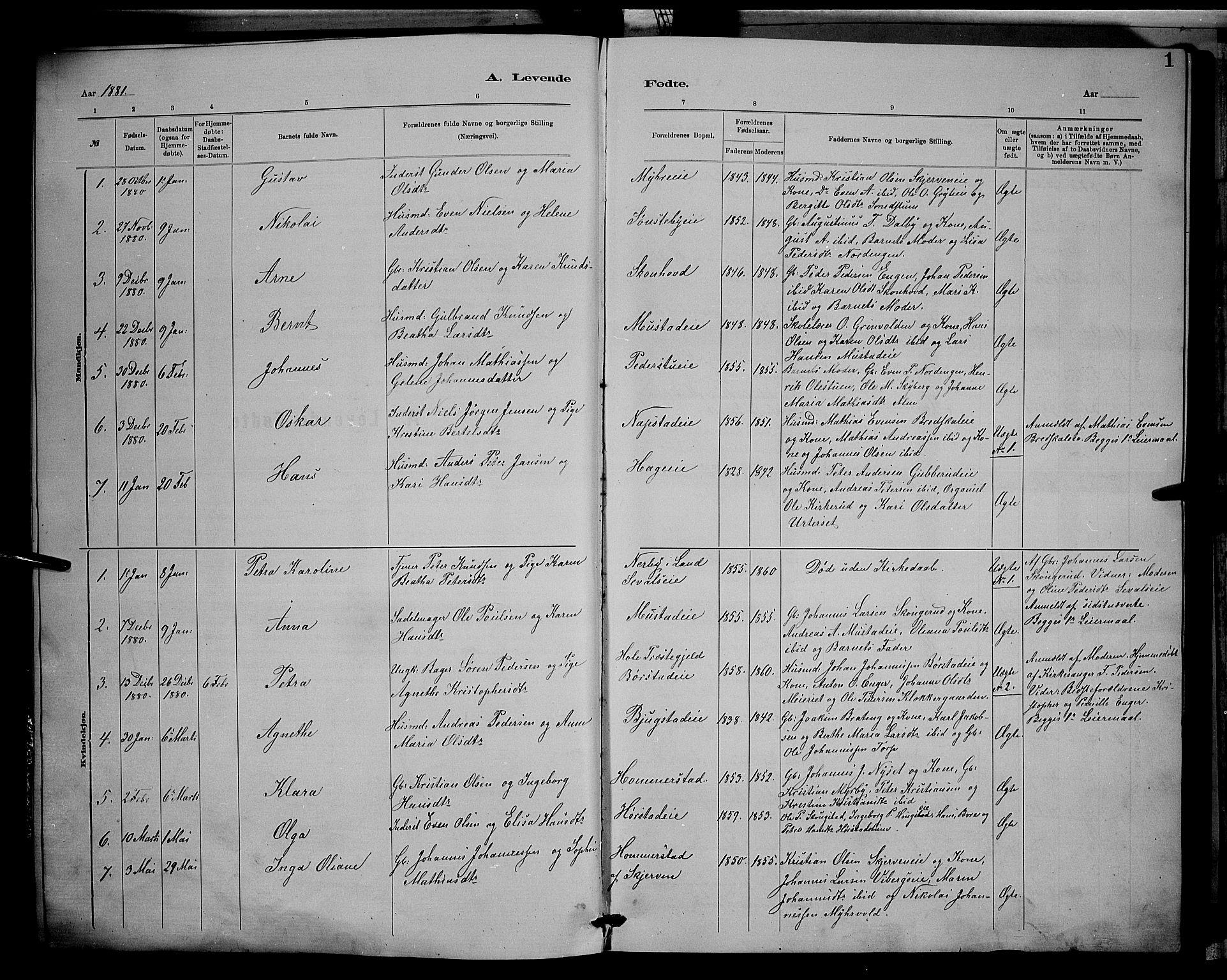 SAH, Vardal prestekontor, H/Ha/Hab/L0008: Klokkerbok nr. 8, 1881-1898, s. 1