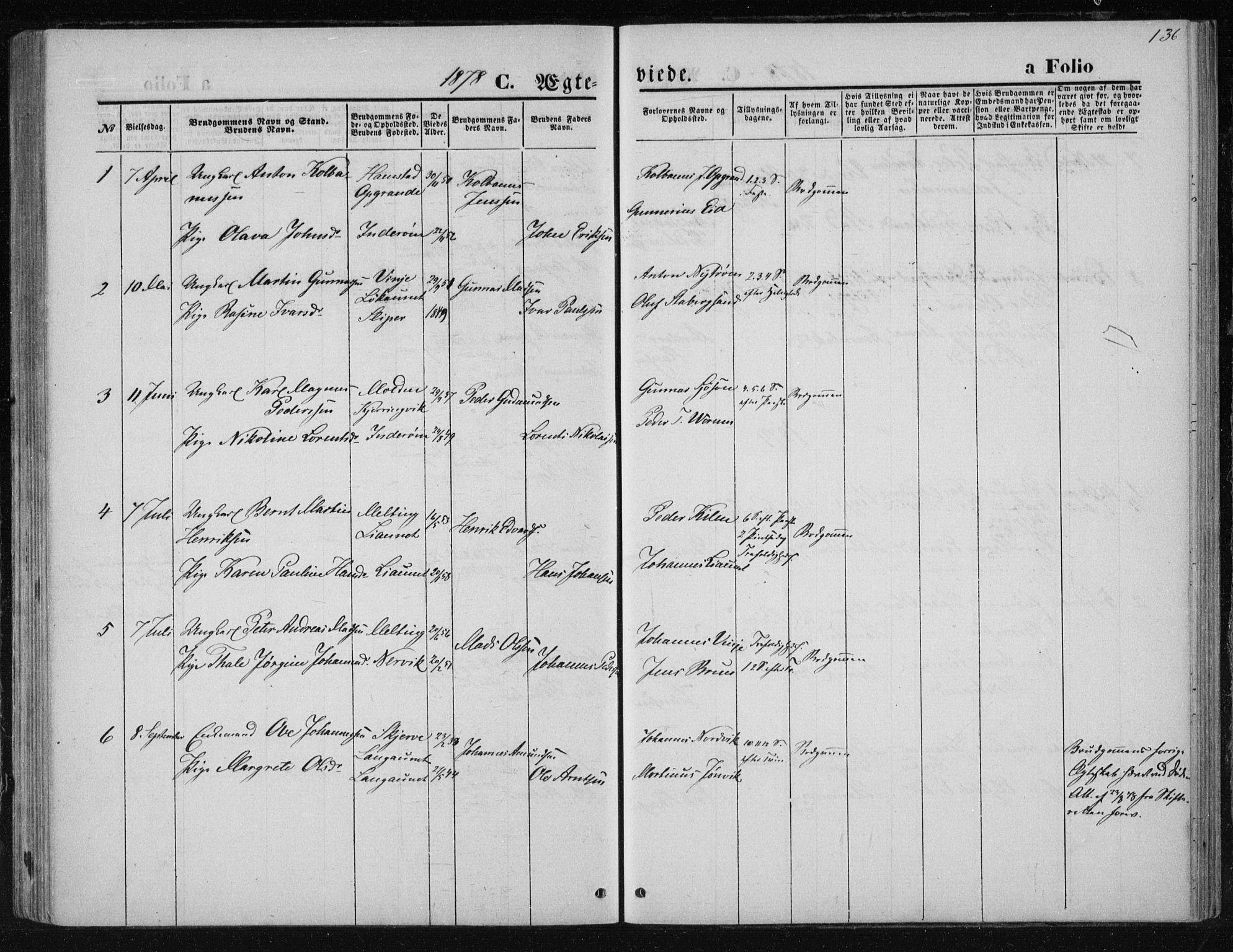 SAT, Ministerialprotokoller, klokkerbøker og fødselsregistre - Nord-Trøndelag, 733/L0324: Ministerialbok nr. 733A03, 1870-1883, s. 136