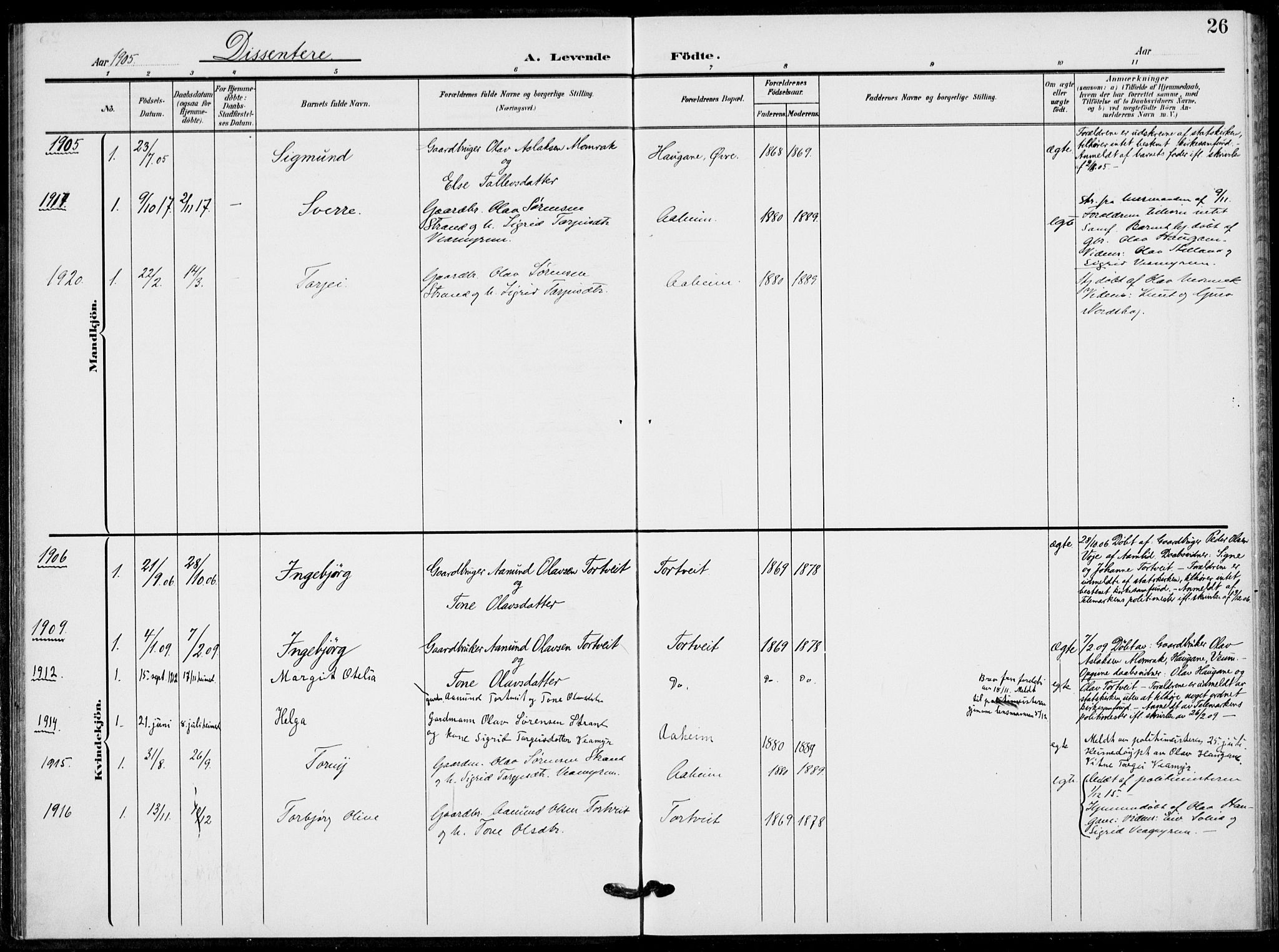 SAKO, Fyresdal kirkebøker, F/Fb/L0004: Ministerialbok nr. II 4, 1903-1920, s. 26