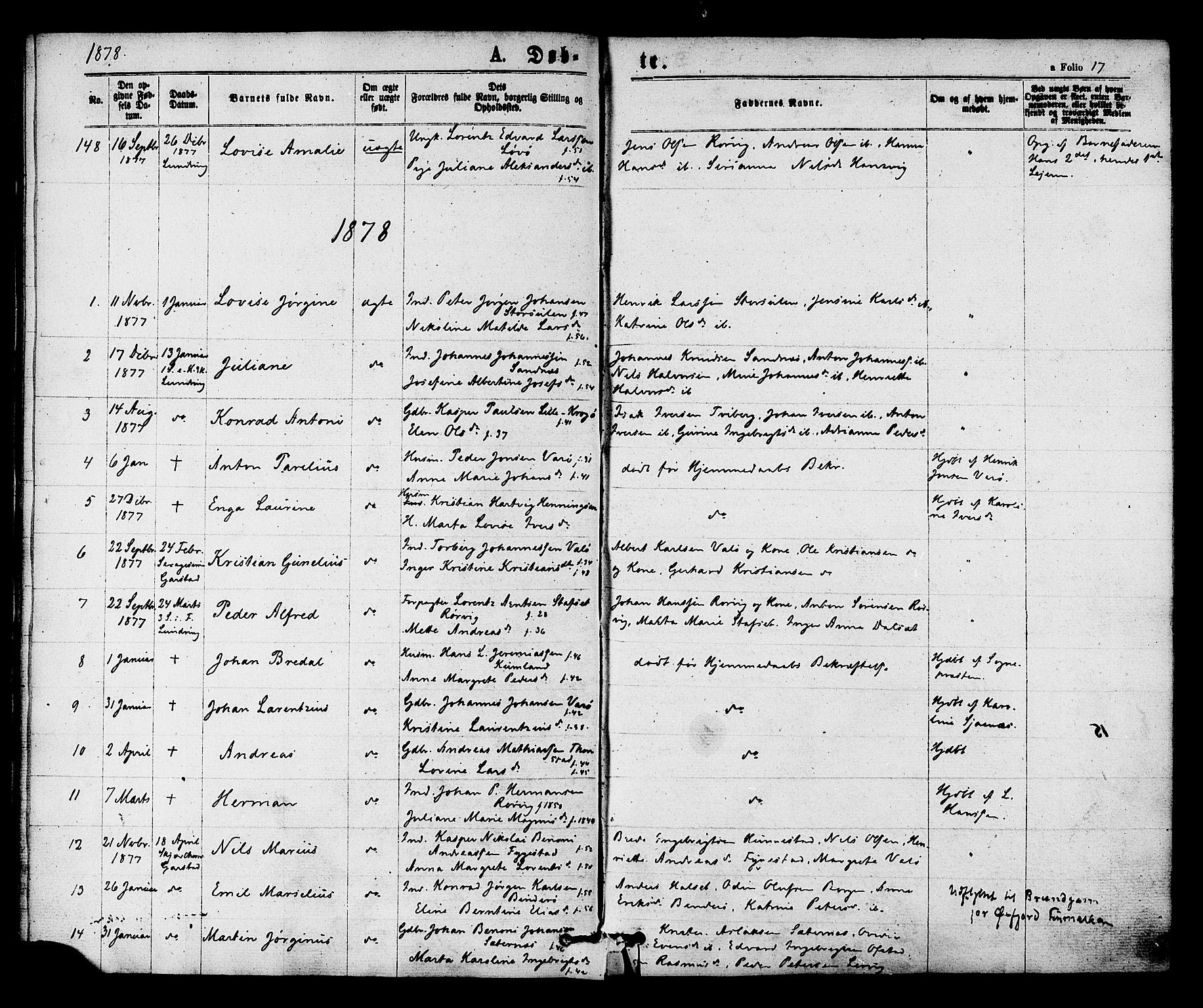 SAT, Ministerialprotokoller, klokkerbøker og fødselsregistre - Nord-Trøndelag, 784/L0671: Ministerialbok nr. 784A06, 1876-1879, s. 17