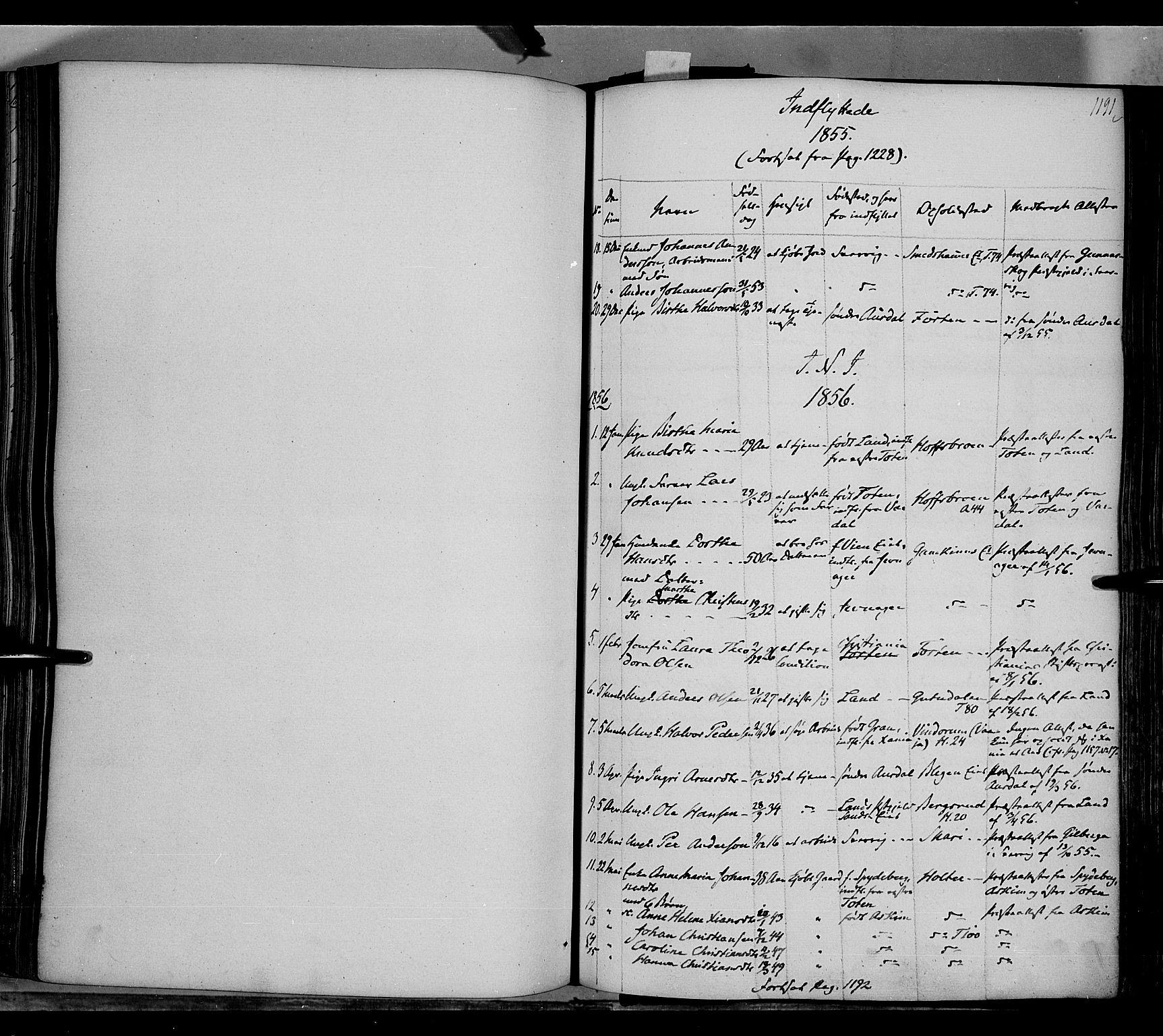 SAH, Gran prestekontor, Ministerialbok nr. 11, 1842-1856, s. 1190-1191