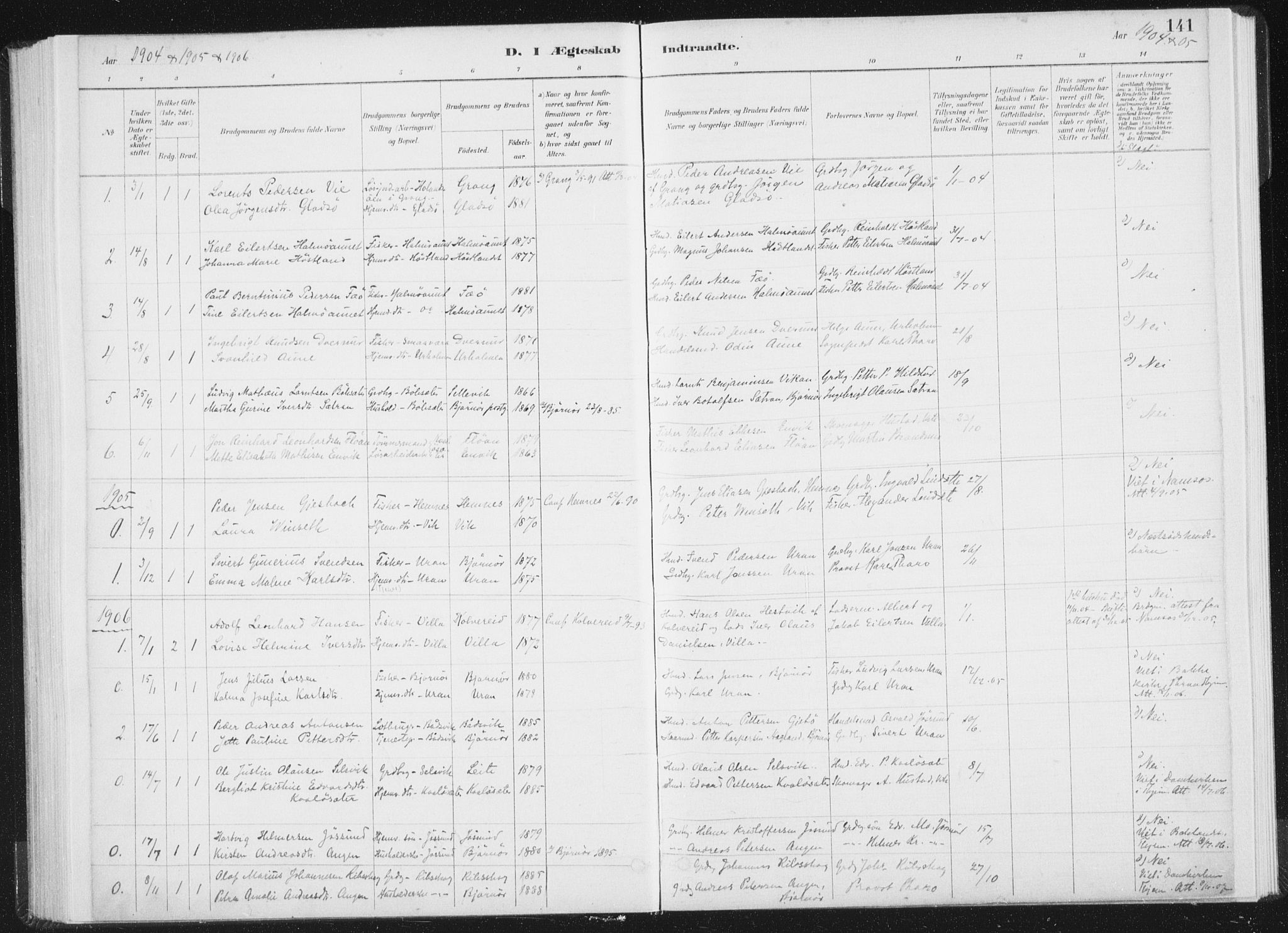 SAT, Ministerialprotokoller, klokkerbøker og fødselsregistre - Nord-Trøndelag, 771/L0597: Ministerialbok nr. 771A04, 1885-1910, s. 141