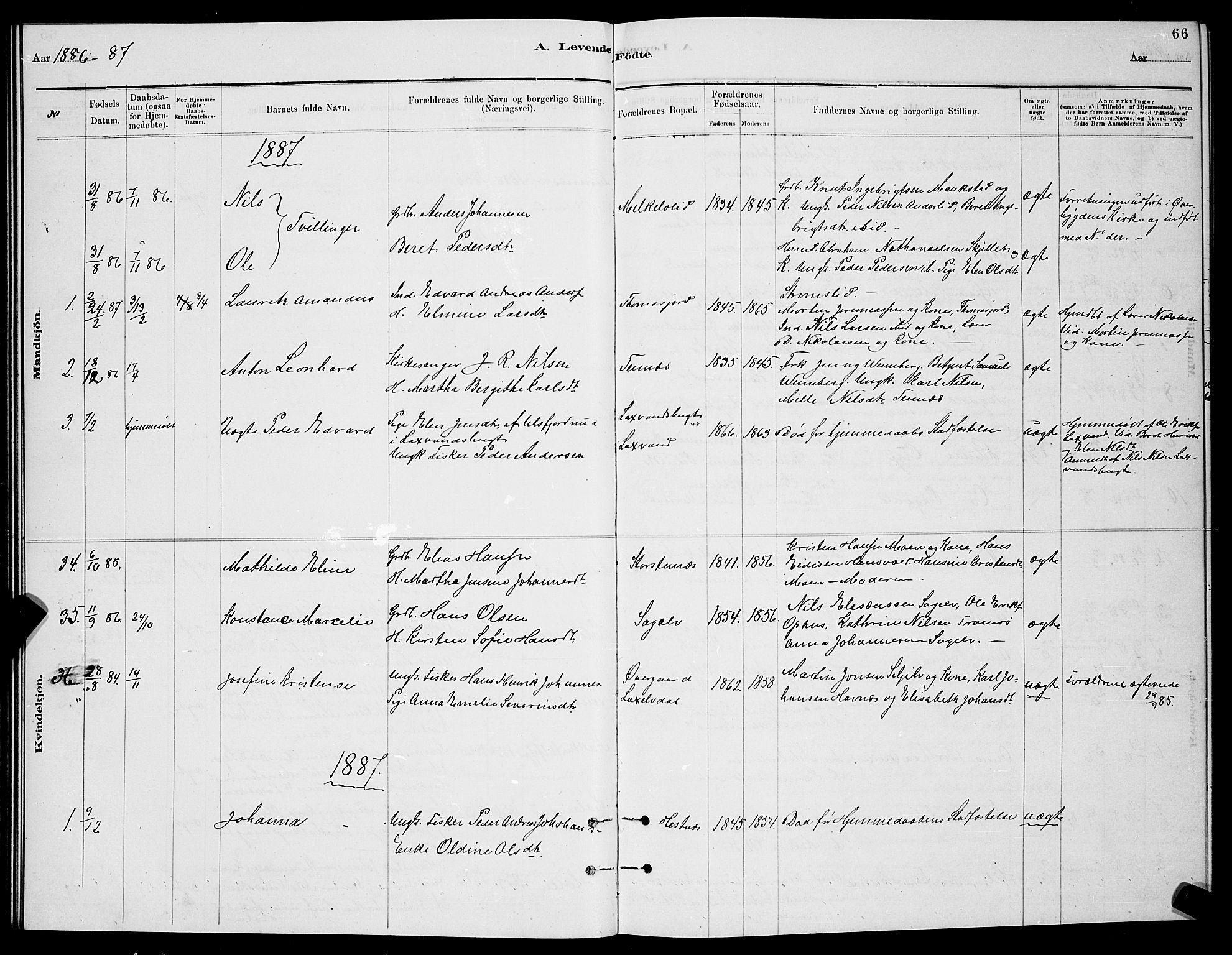 SATØ, Balsfjord sokneprestembete, Klokkerbok nr. 7, 1878-1889, s. 66