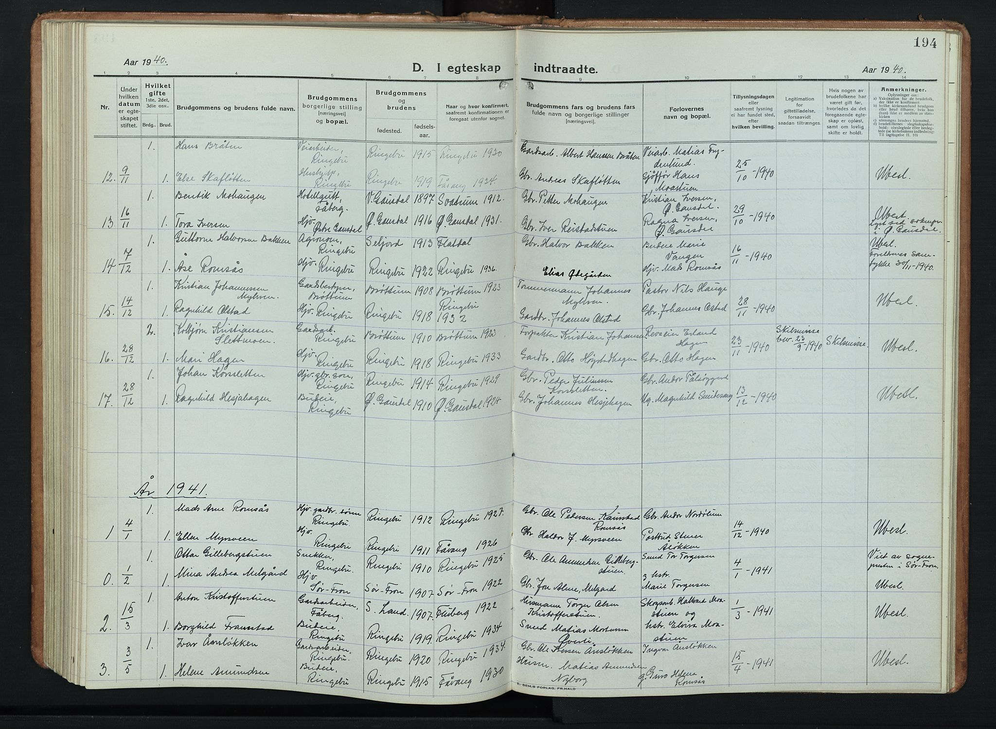 SAH, Ringebu prestekontor, Klokkerbok nr. 11, 1921-1943, s. 194