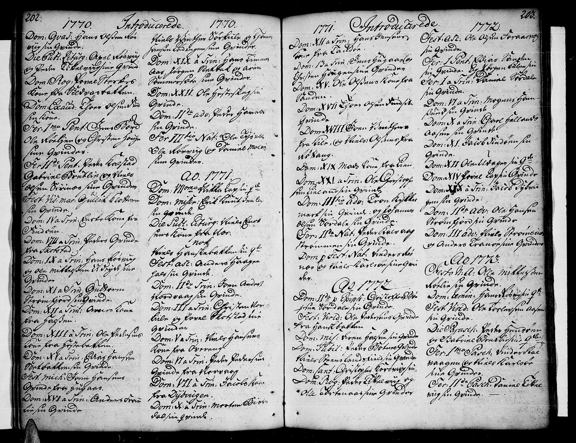 SAT, Ministerialprotokoller, klokkerbøker og fødselsregistre - Nordland, 859/L0841: Ministerialbok nr. 859A01, 1766-1821, s. 202-203