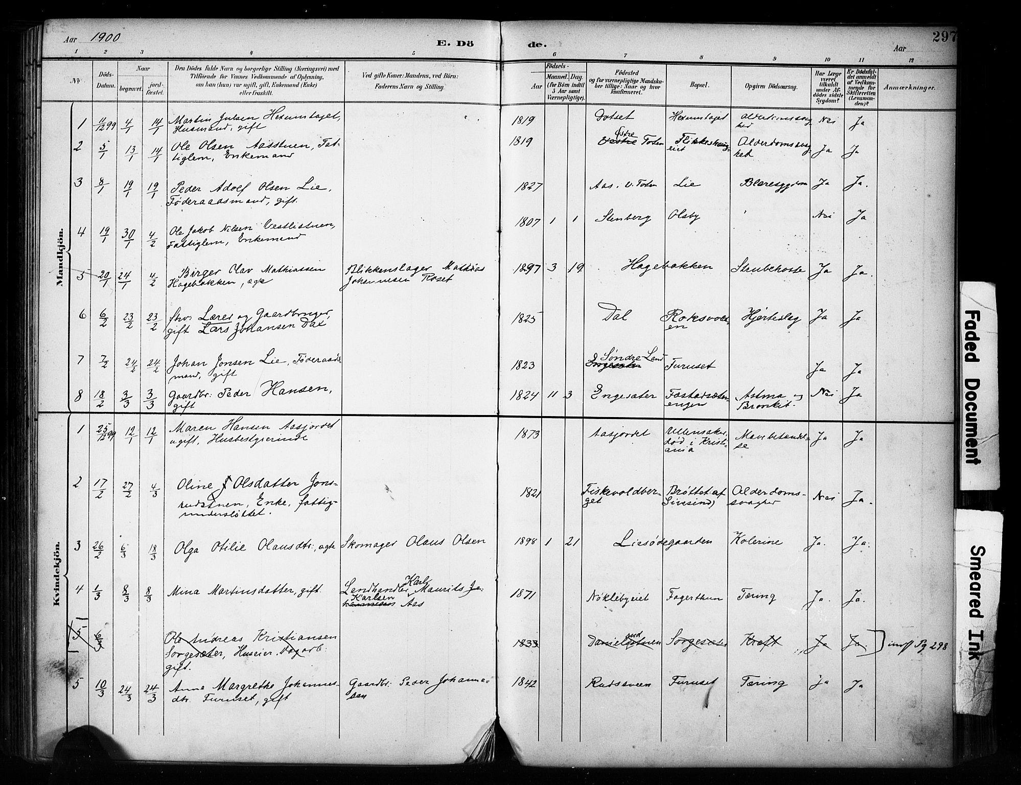 SAH, Vestre Toten prestekontor, Ministerialbok nr. 11, 1895-1906, s. 297