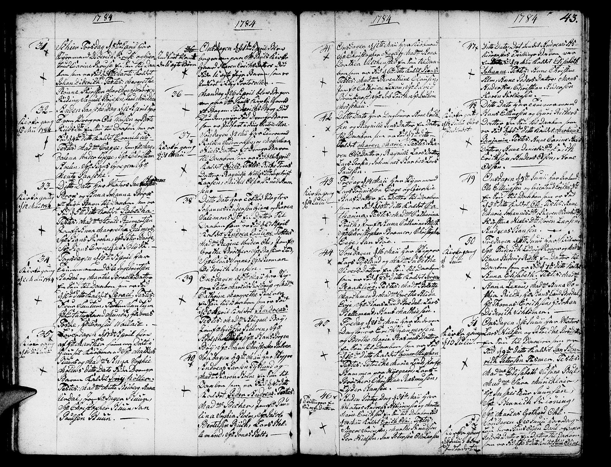 SAB, Nykirken Sokneprestembete, H/Haa: Ministerialbok nr. A 5, 1775-1808, s. 43