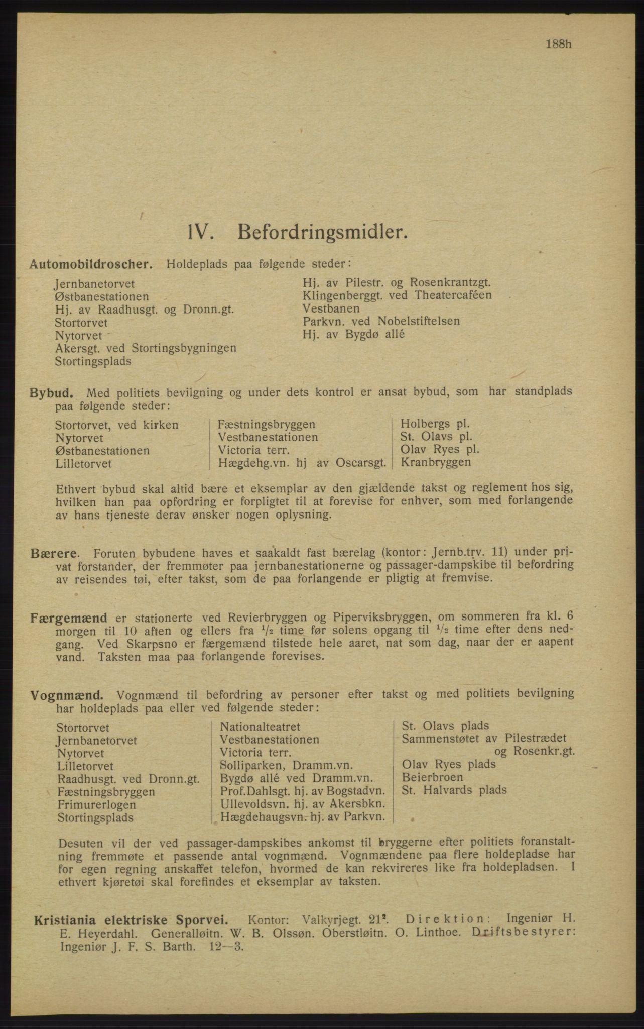 RA, Kristiania adressebok (publikasjon)*, 1913, s. 188