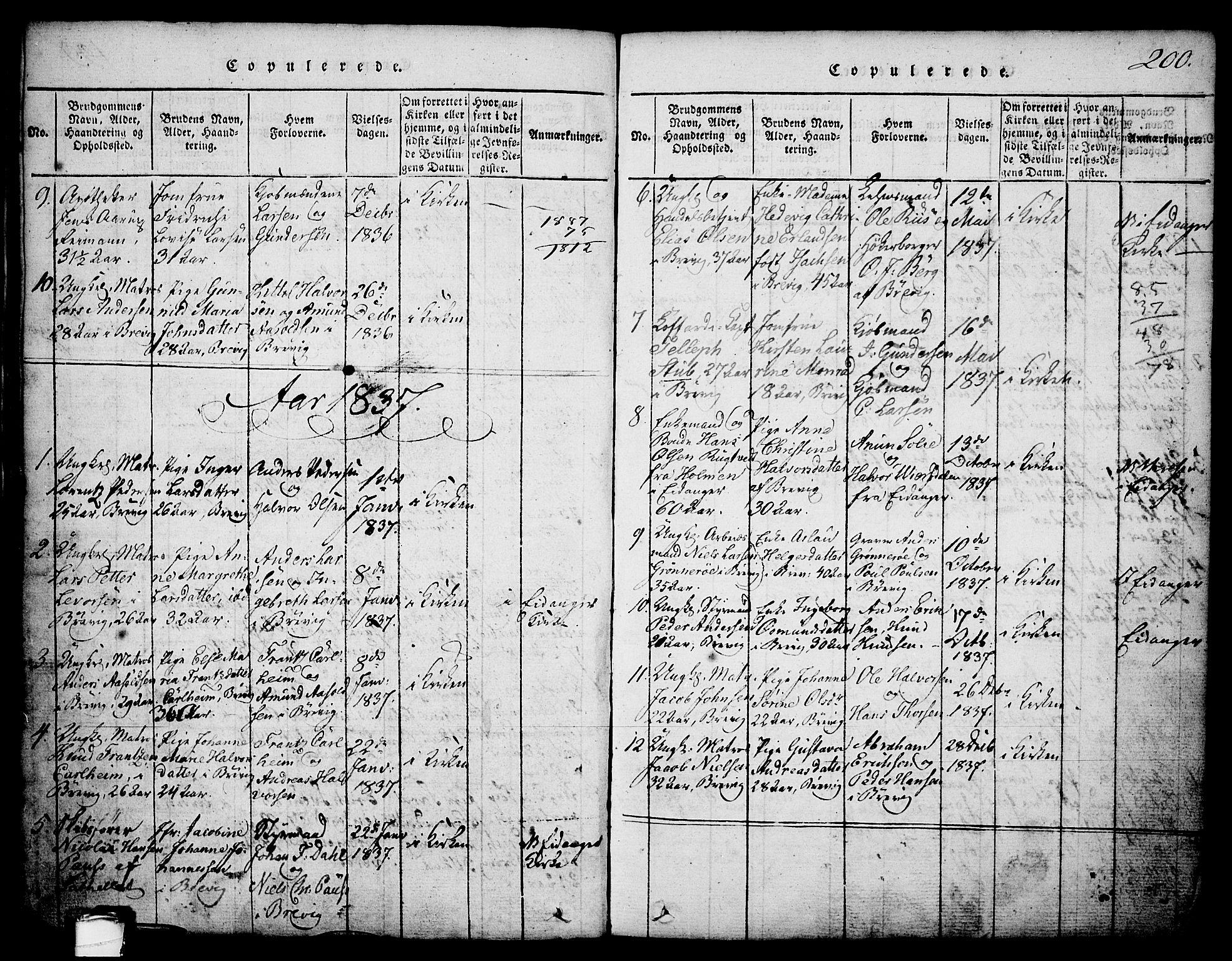 SAKO, Brevik kirkebøker, G/Ga/L0001: Klokkerbok nr. 1, 1814-1845, s. 200