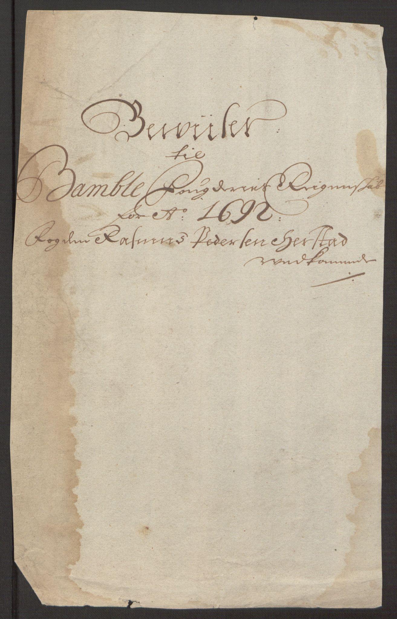 RA, Rentekammeret inntil 1814, Reviderte regnskaper, Fogderegnskap, R34/L2052: Fogderegnskap Bamble, 1692-1693, s. 246