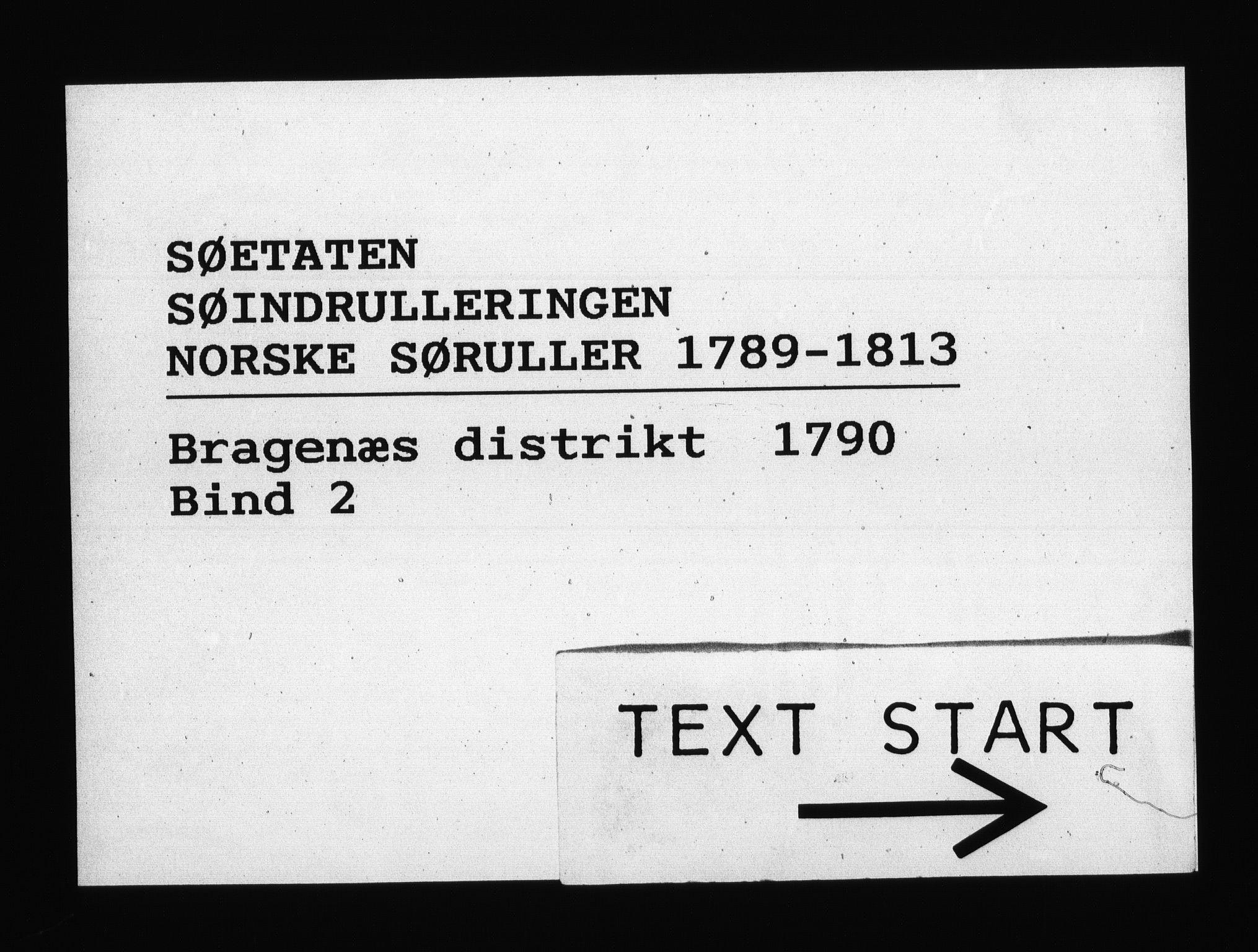 RA, Sjøetaten, F/L0110: Bragernes distrikt, bind 2, 1790