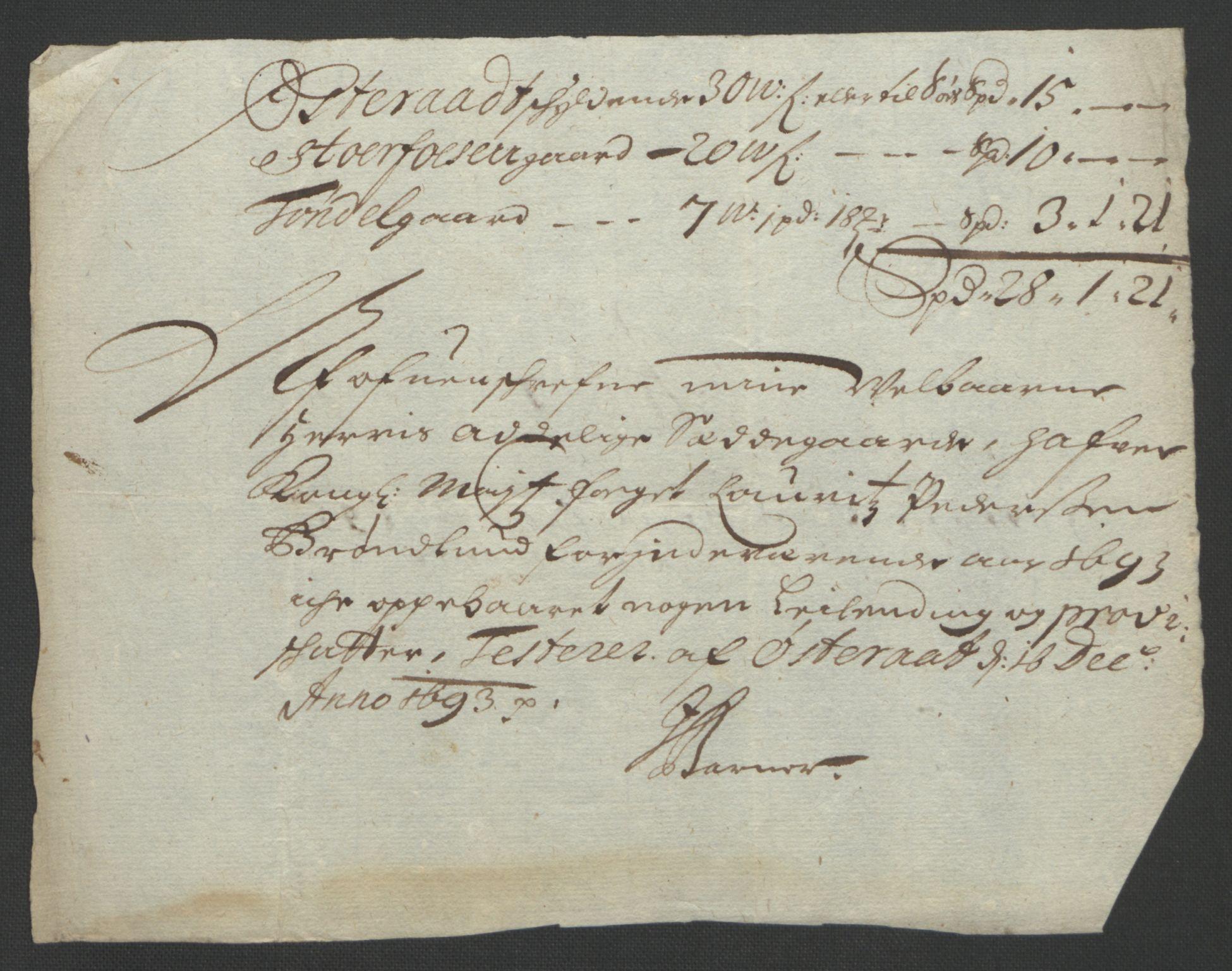 RA, Rentekammeret inntil 1814, Reviderte regnskaper, Fogderegnskap, R57/L3849: Fogderegnskap Fosen, 1692-1693, s. 563