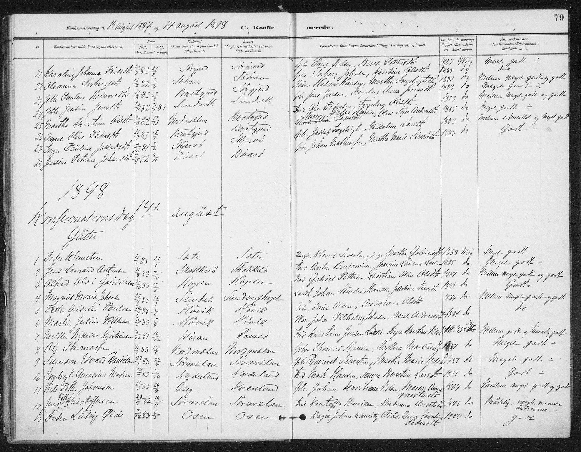 SAT, Ministerialprotokoller, klokkerbøker og fødselsregistre - Sør-Trøndelag, 658/L0723: Ministerialbok nr. 658A02, 1897-1912, s. 79