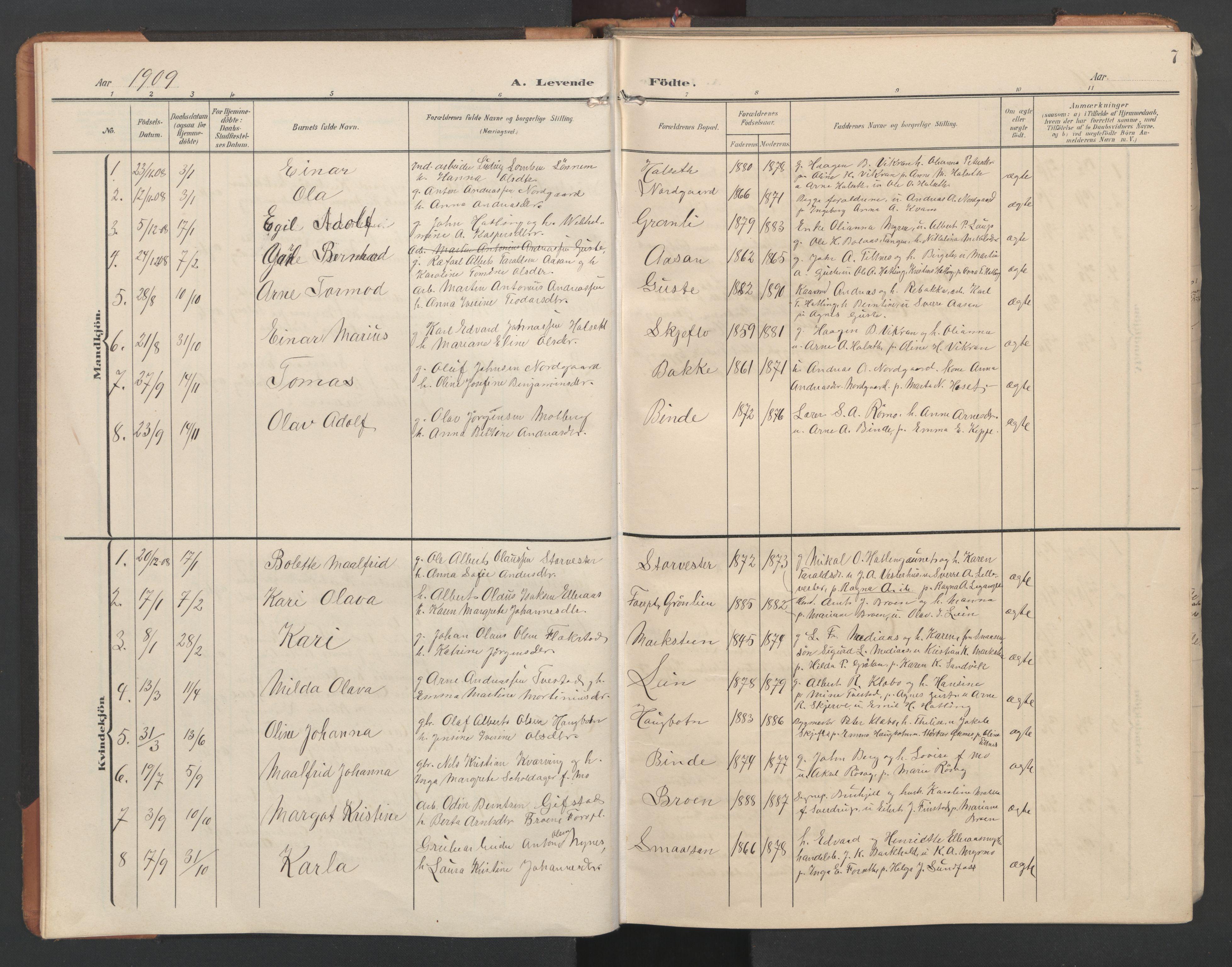 SAT, Ministerialprotokoller, klokkerbøker og fødselsregistre - Nord-Trøndelag, 746/L0455: Klokkerbok nr. 746C01, 1908-1933, s. 7