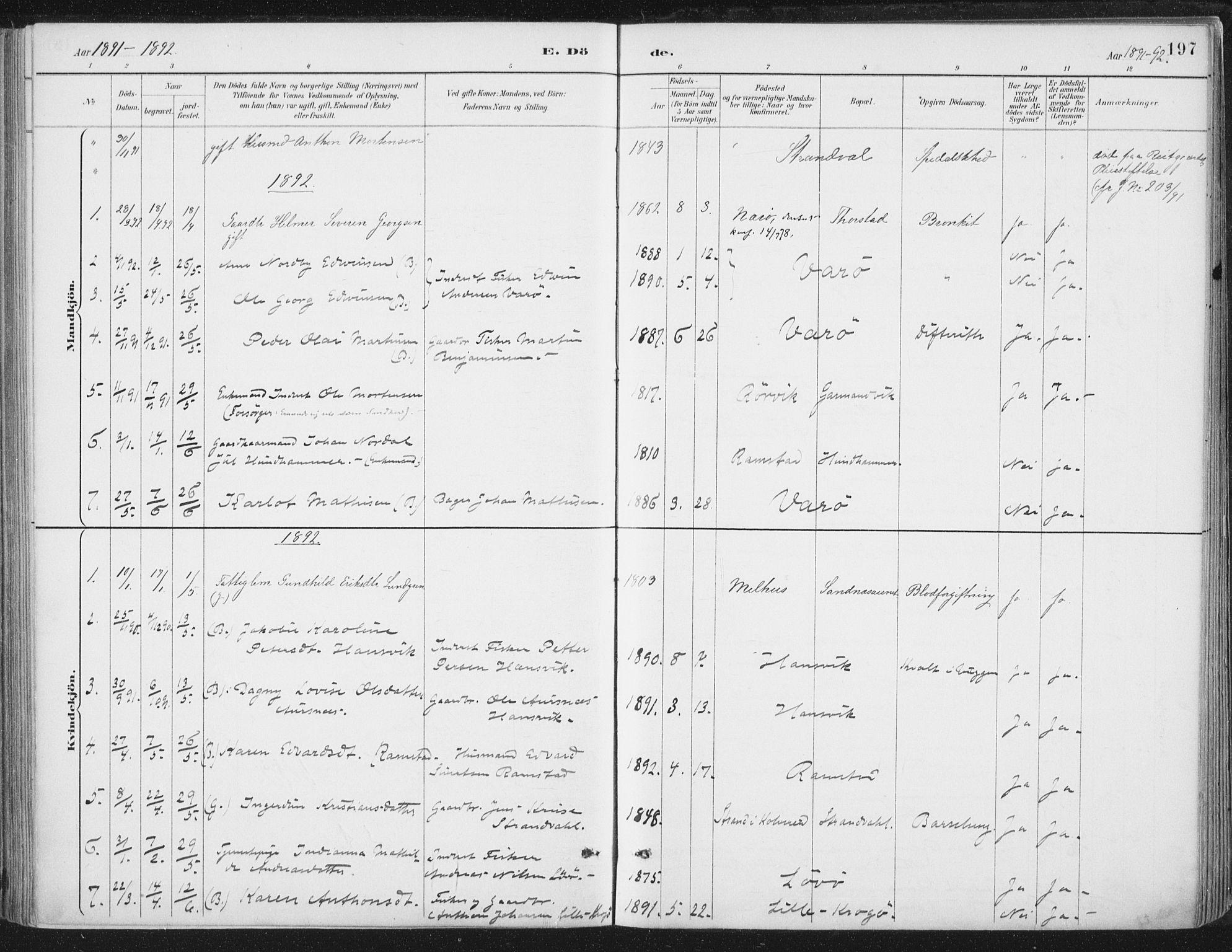 SAT, Ministerialprotokoller, klokkerbøker og fødselsregistre - Nord-Trøndelag, 784/L0673: Ministerialbok nr. 784A08, 1888-1899, s. 197