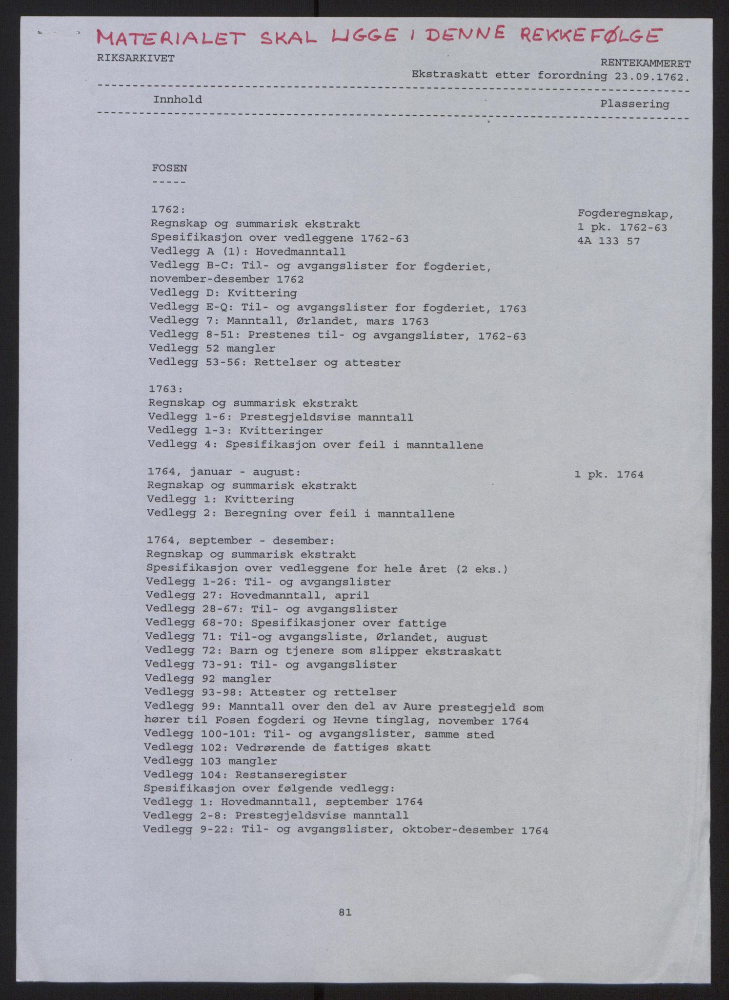 RA, Rentekammeret inntil 1814, Reviderte regnskaper, Fogderegnskap, R57/L3930: Ekstraskatten Fosen, 1762-1763, s. 2