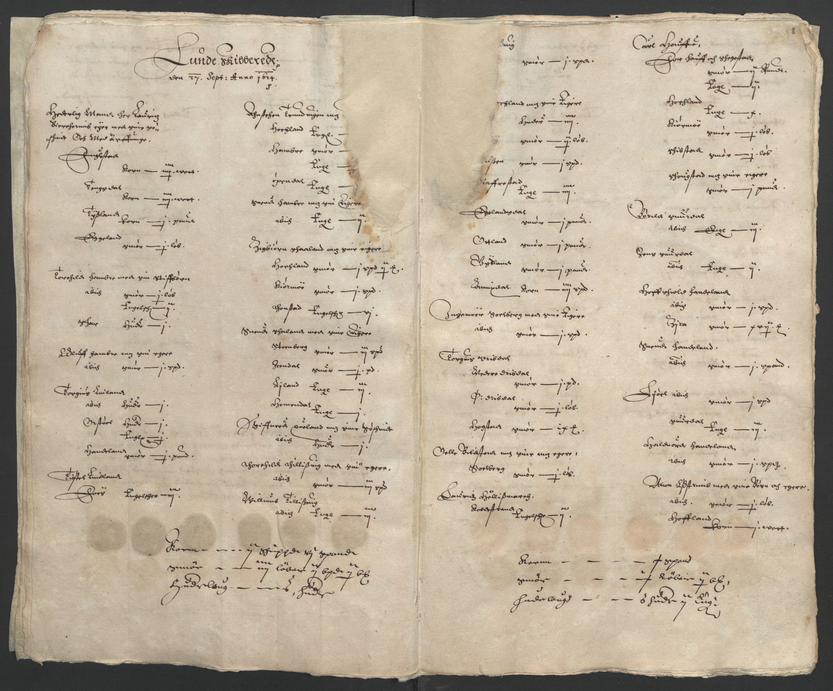 RA, Stattholderembetet 1572-1771, Ek/L0010: Jordebøker til utlikning av rosstjeneste 1624-1626:, 1624-1626, s. 42