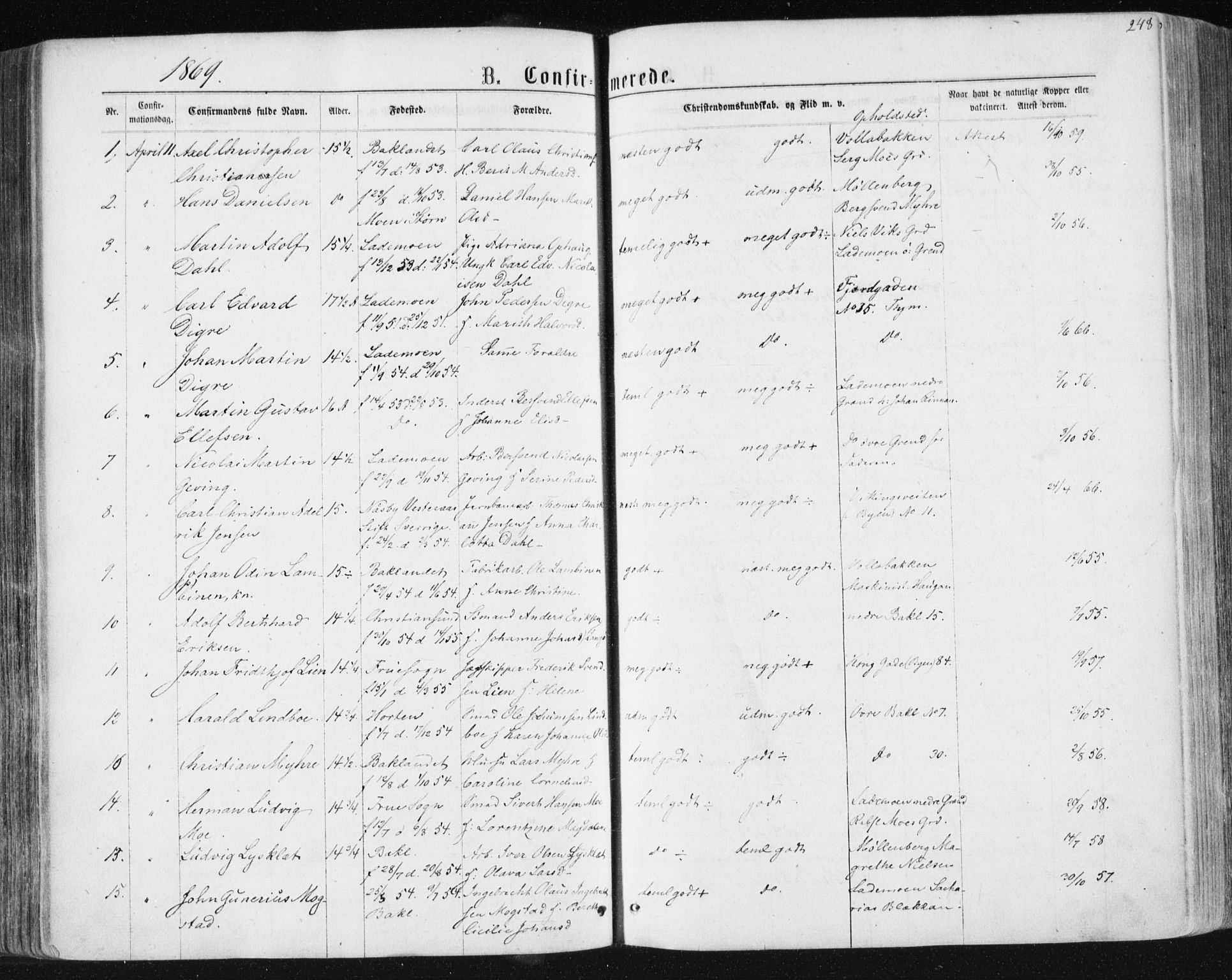SAT, Ministerialprotokoller, klokkerbøker og fødselsregistre - Sør-Trøndelag, 604/L0186: Ministerialbok nr. 604A07, 1866-1877, s. 248