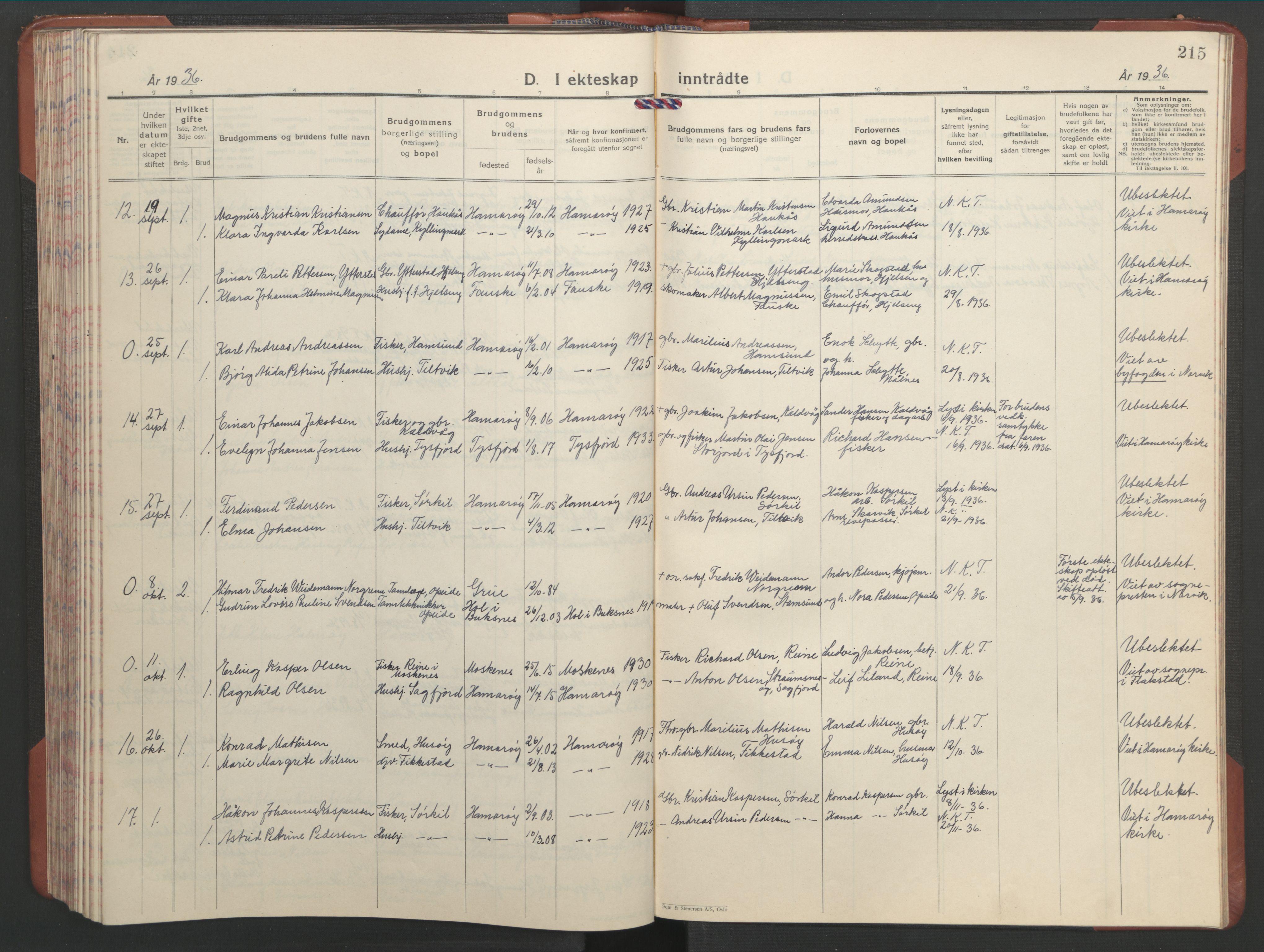 SAT, Ministerialprotokoller, klokkerbøker og fødselsregistre - Nordland, 859/L0862: Klokkerbok nr. 859C08, 1925-1936, s. 215