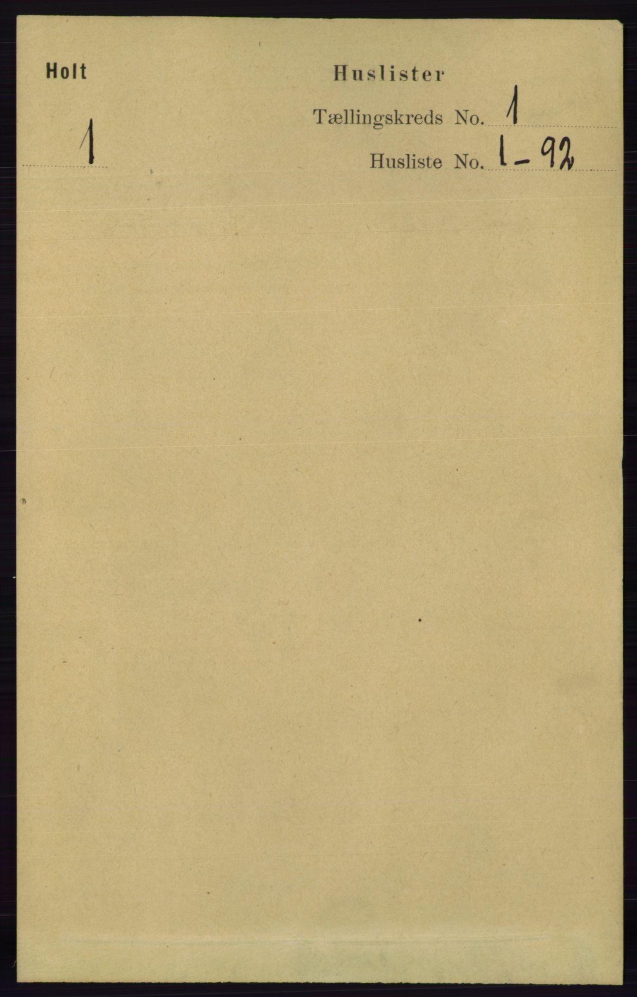 RA, Folketelling 1891 for 0914 Holt herred, 1891, s. 33
