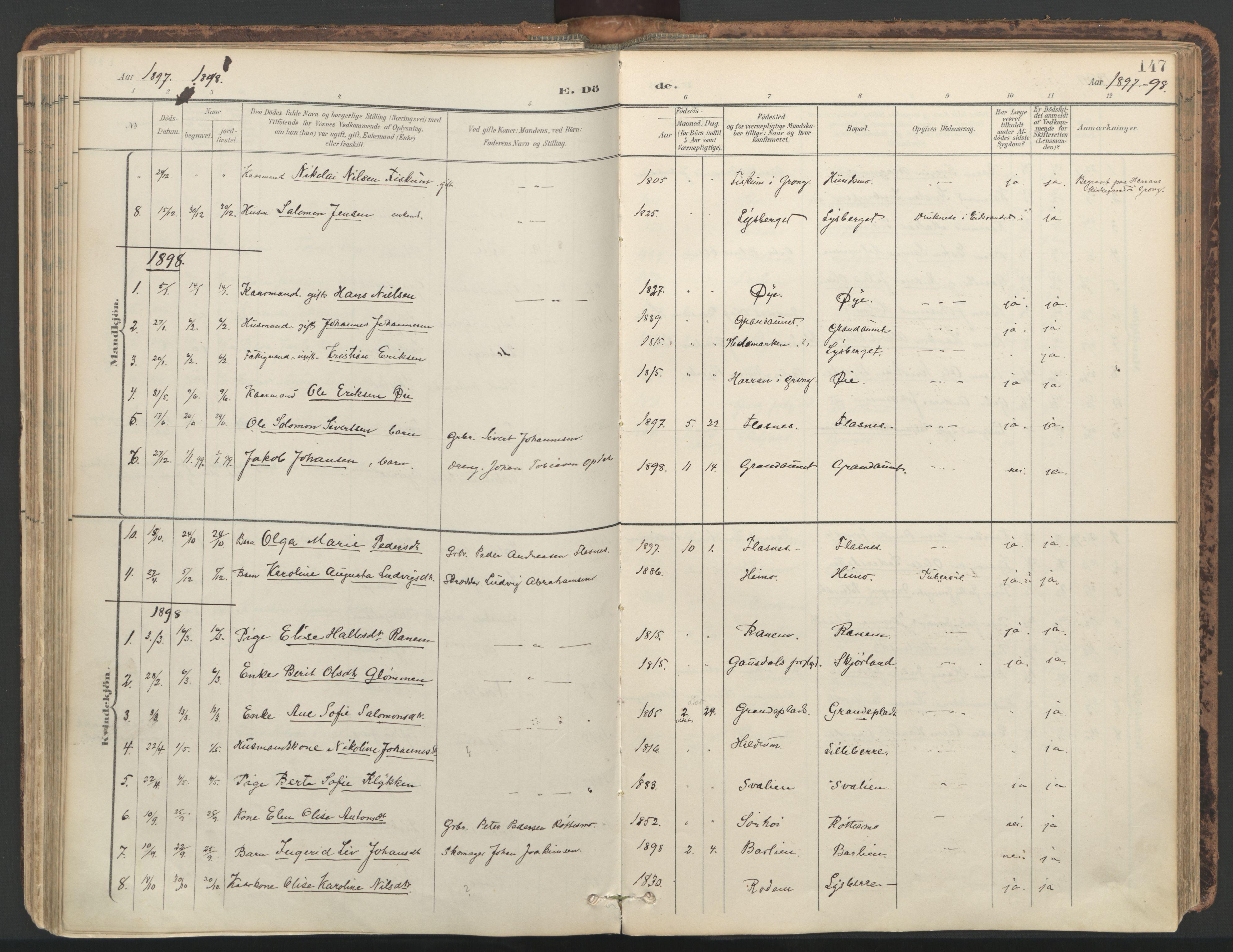SAT, Ministerialprotokoller, klokkerbøker og fødselsregistre - Nord-Trøndelag, 764/L0556: Ministerialbok nr. 764A11, 1897-1924, s. 147