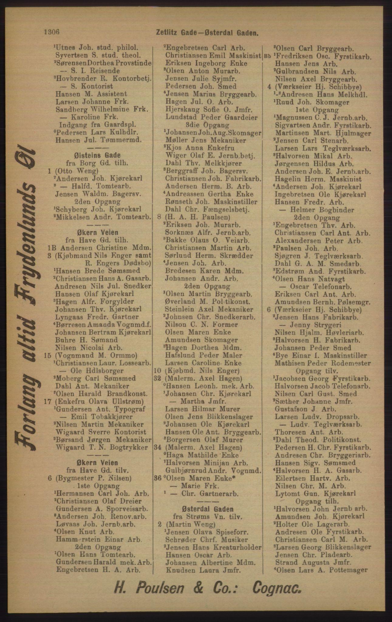 RA, Kristiania adressebok (publikasjon)*, 1905, s. 1306