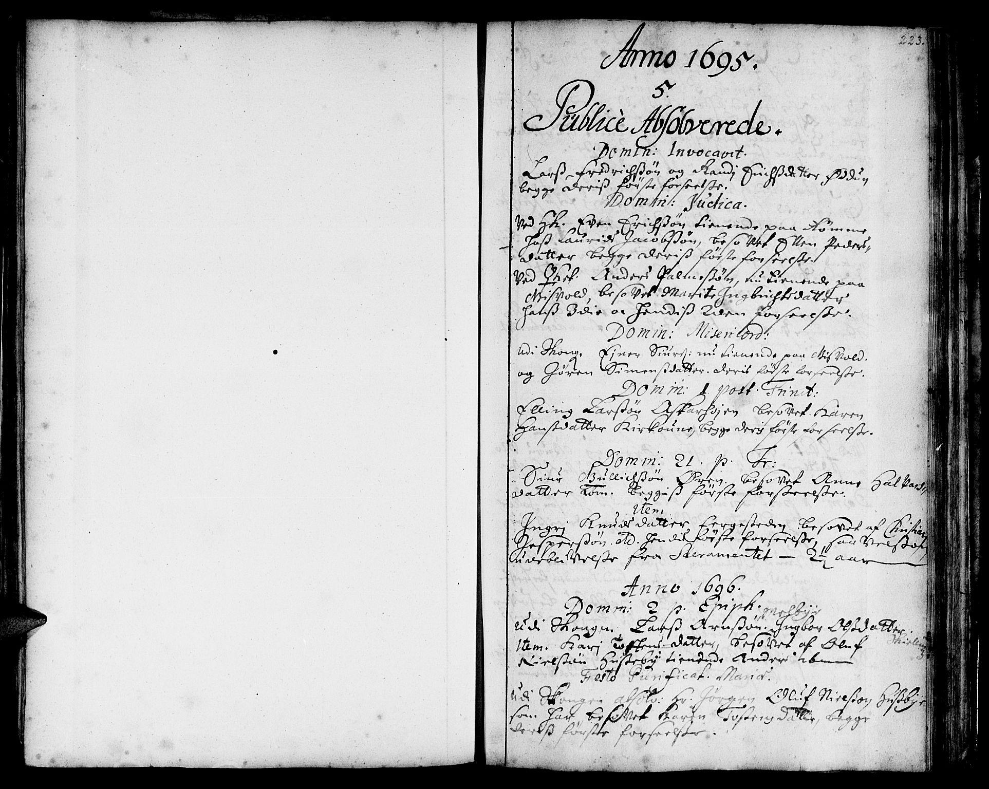 SAT, Ministerialprotokoller, klokkerbøker og fødselsregistre - Sør-Trøndelag, 668/L0801: Ministerialbok nr. 668A01, 1695-1716, s. 222-223