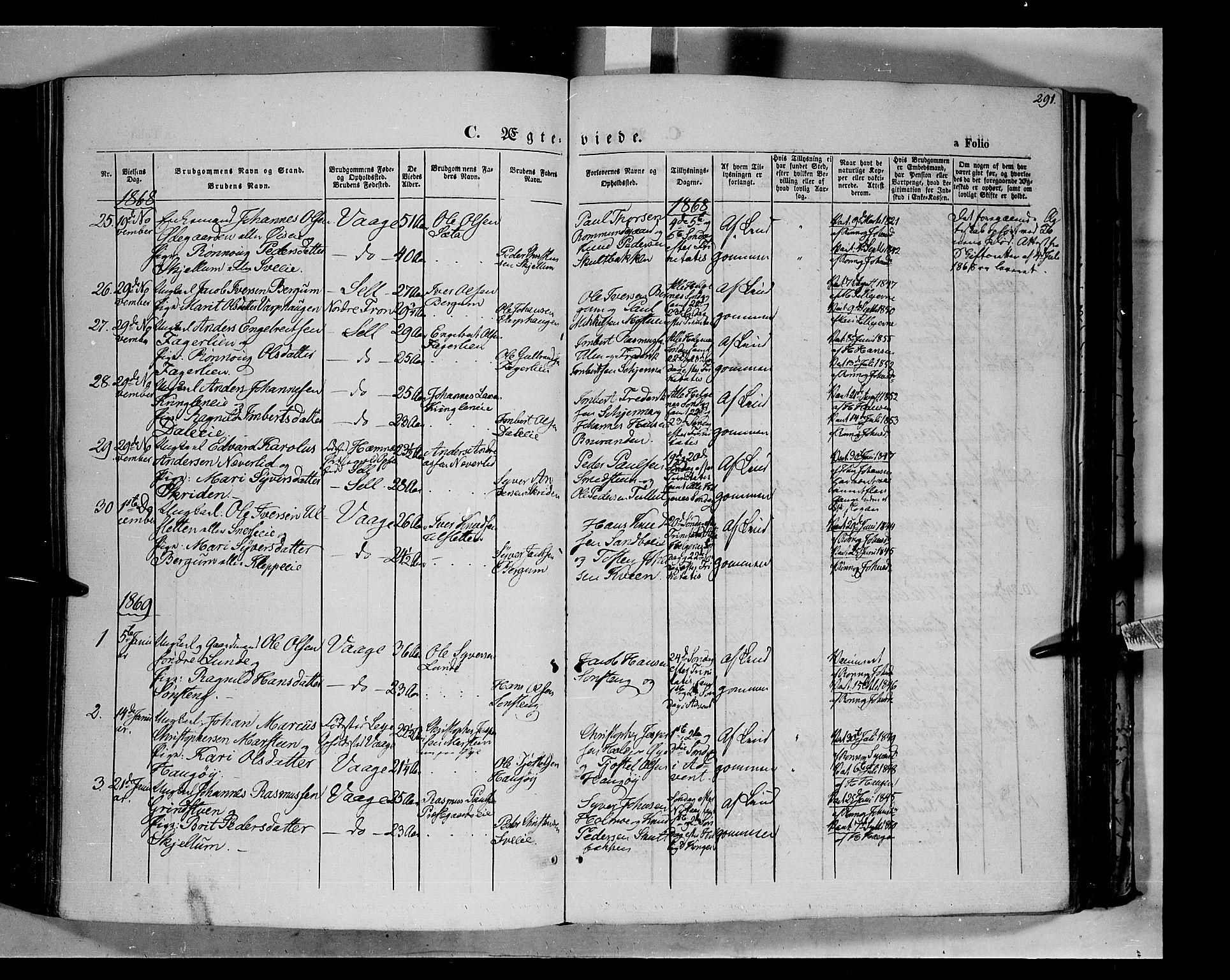 SAH, Vågå prestekontor, Ministerialbok nr. 6 /1, 1856-1872, s. 291