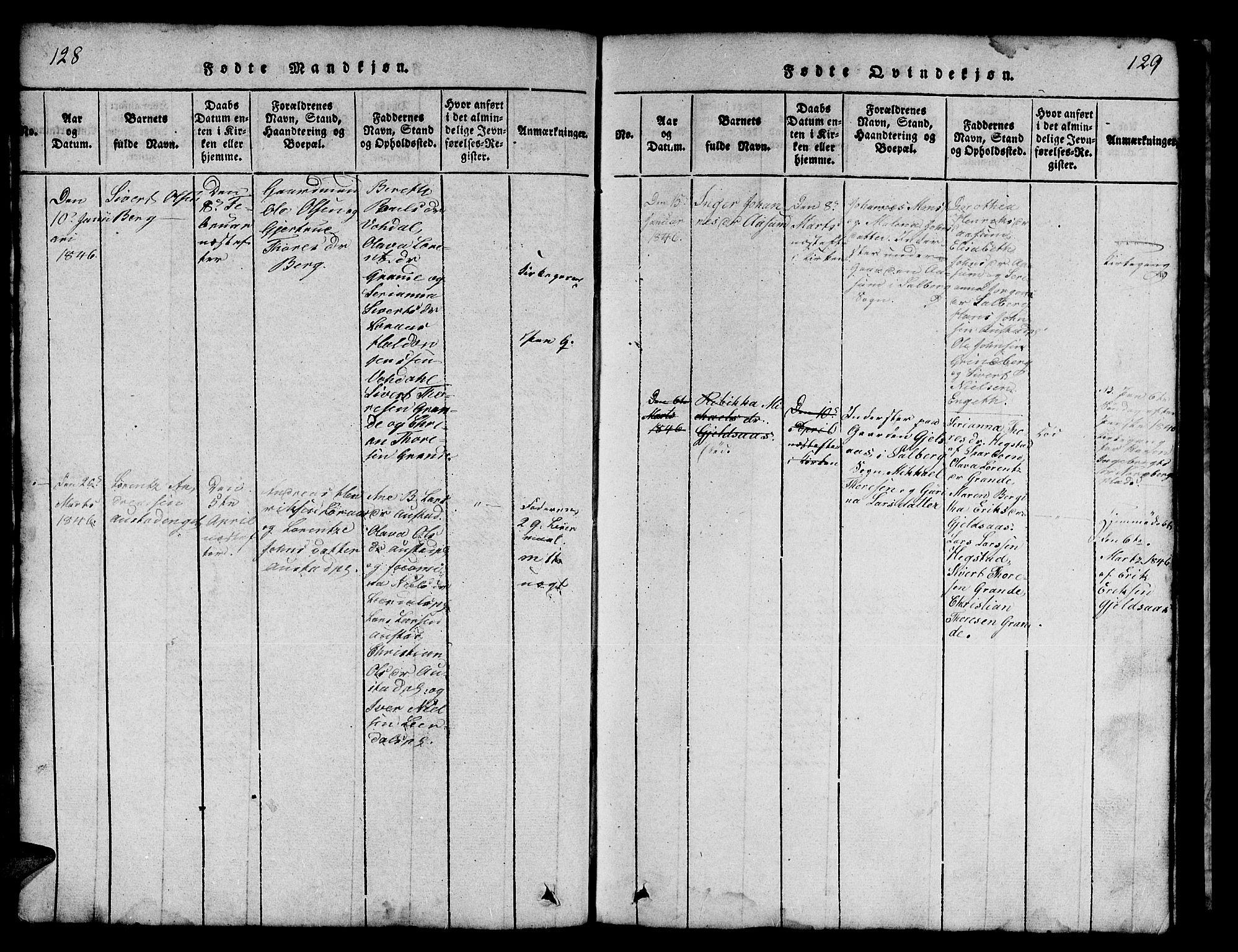 SAT, Ministerialprotokoller, klokkerbøker og fødselsregistre - Nord-Trøndelag, 731/L0310: Klokkerbok nr. 731C01, 1816-1874, s. 128-129