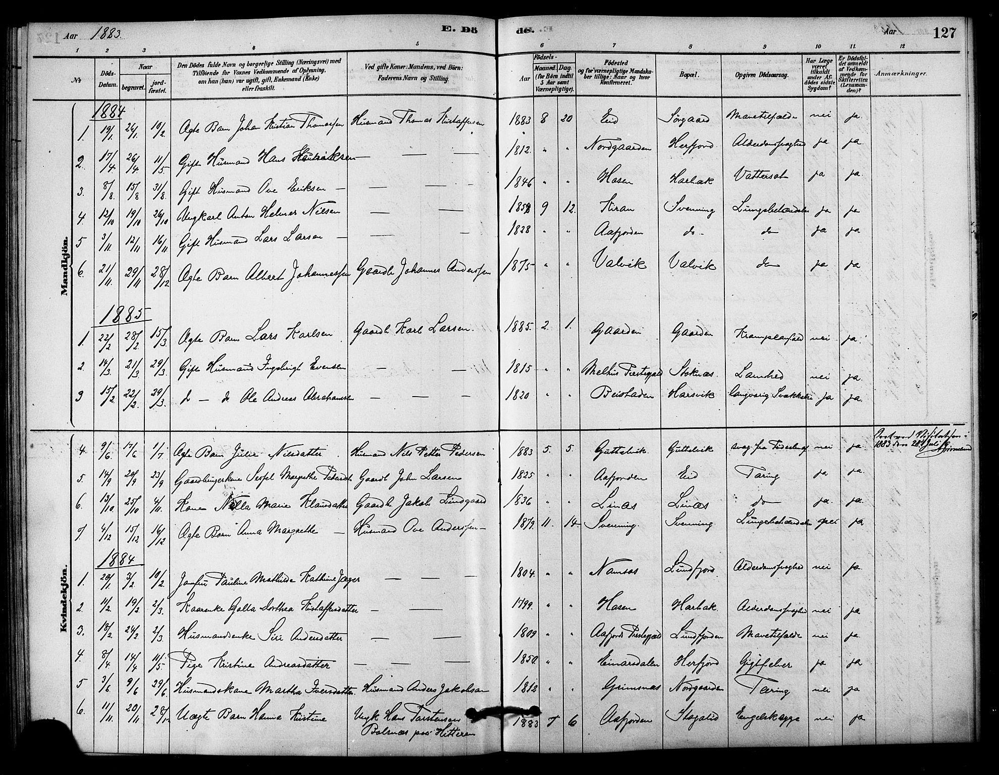 SAT, Ministerialprotokoller, klokkerbøker og fødselsregistre - Sør-Trøndelag, 656/L0692: Ministerialbok nr. 656A01, 1879-1893, s. 127