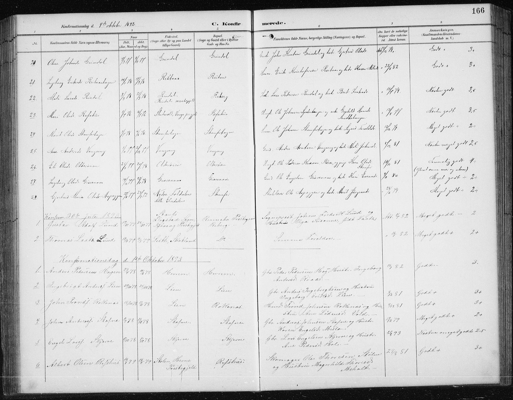 SAT, Ministerialprotokoller, klokkerbøker og fødselsregistre - Sør-Trøndelag, 674/L0876: Klokkerbok nr. 674C03, 1892-1912, s. 166