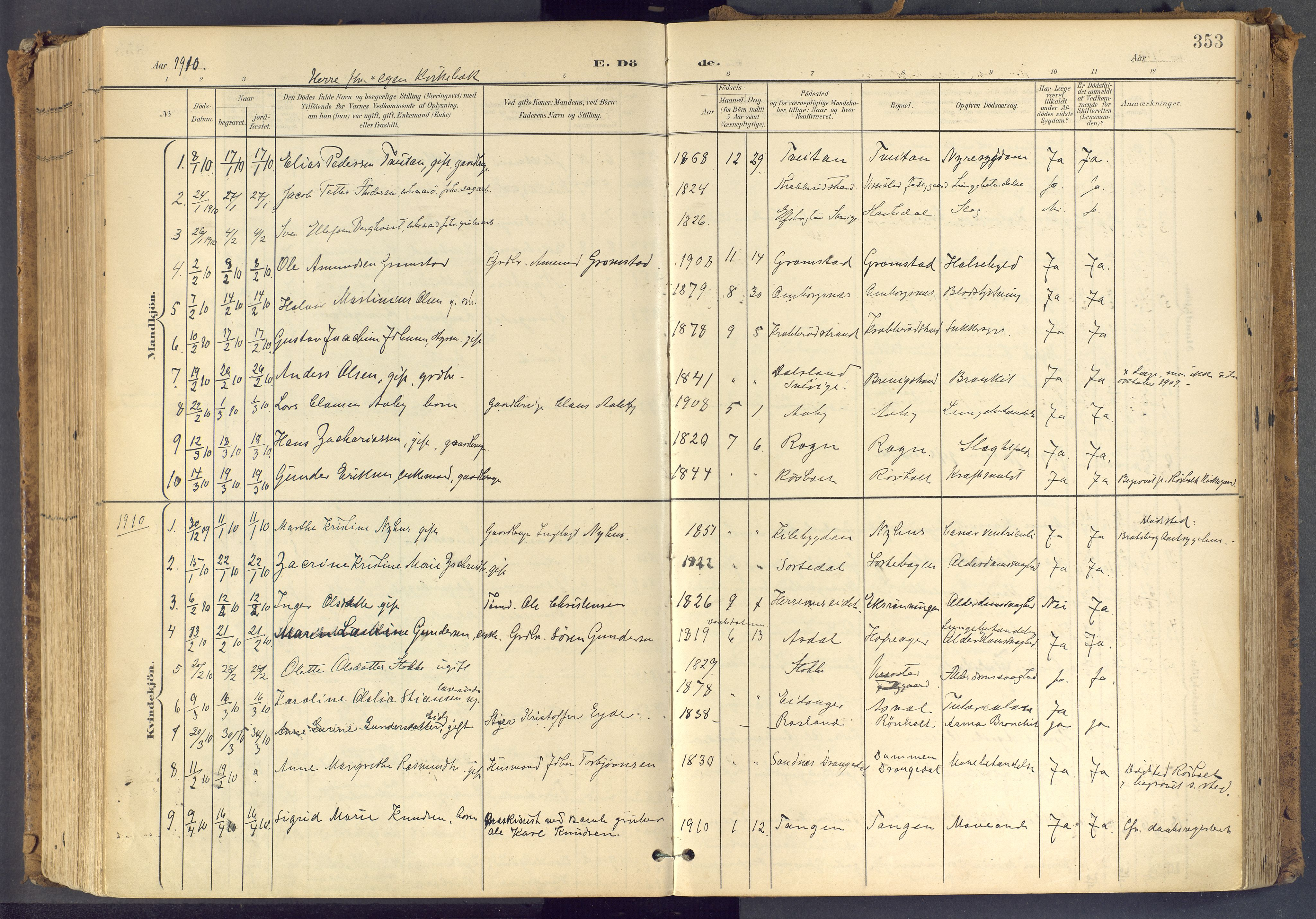 SAKO, Bamble kirkebøker, F/Fa/L0009: Ministerialbok nr. I 9, 1901-1917, s. 353