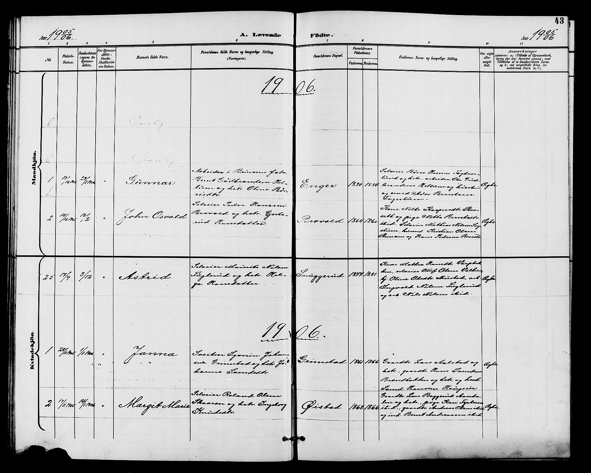 SAH, Vardal prestekontor, H/Ha/Hab/L0011: Klokkerbok nr. 11, 1899-1913, s. 43