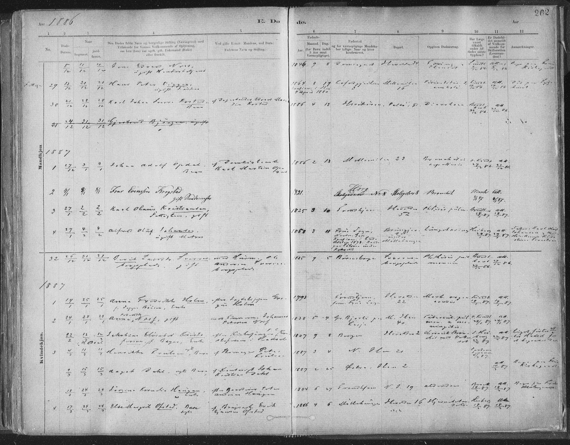 SAT, Ministerialprotokoller, klokkerbøker og fødselsregistre - Sør-Trøndelag, 603/L0162: Ministerialbok nr. 603A01, 1879-1895, s. 262