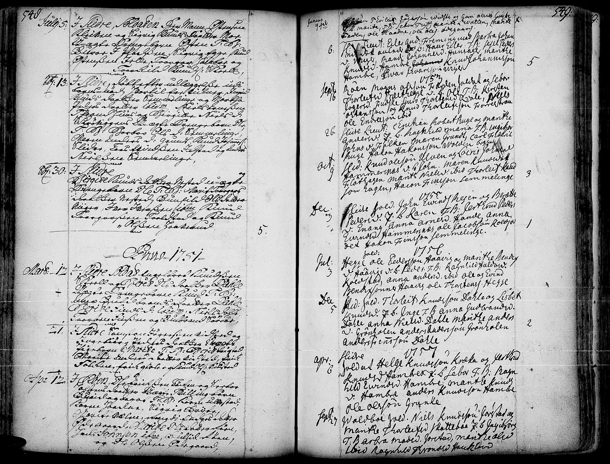SAH, Slidre prestekontor, Ministerialbok nr. 1, 1724-1814, s. 548-549