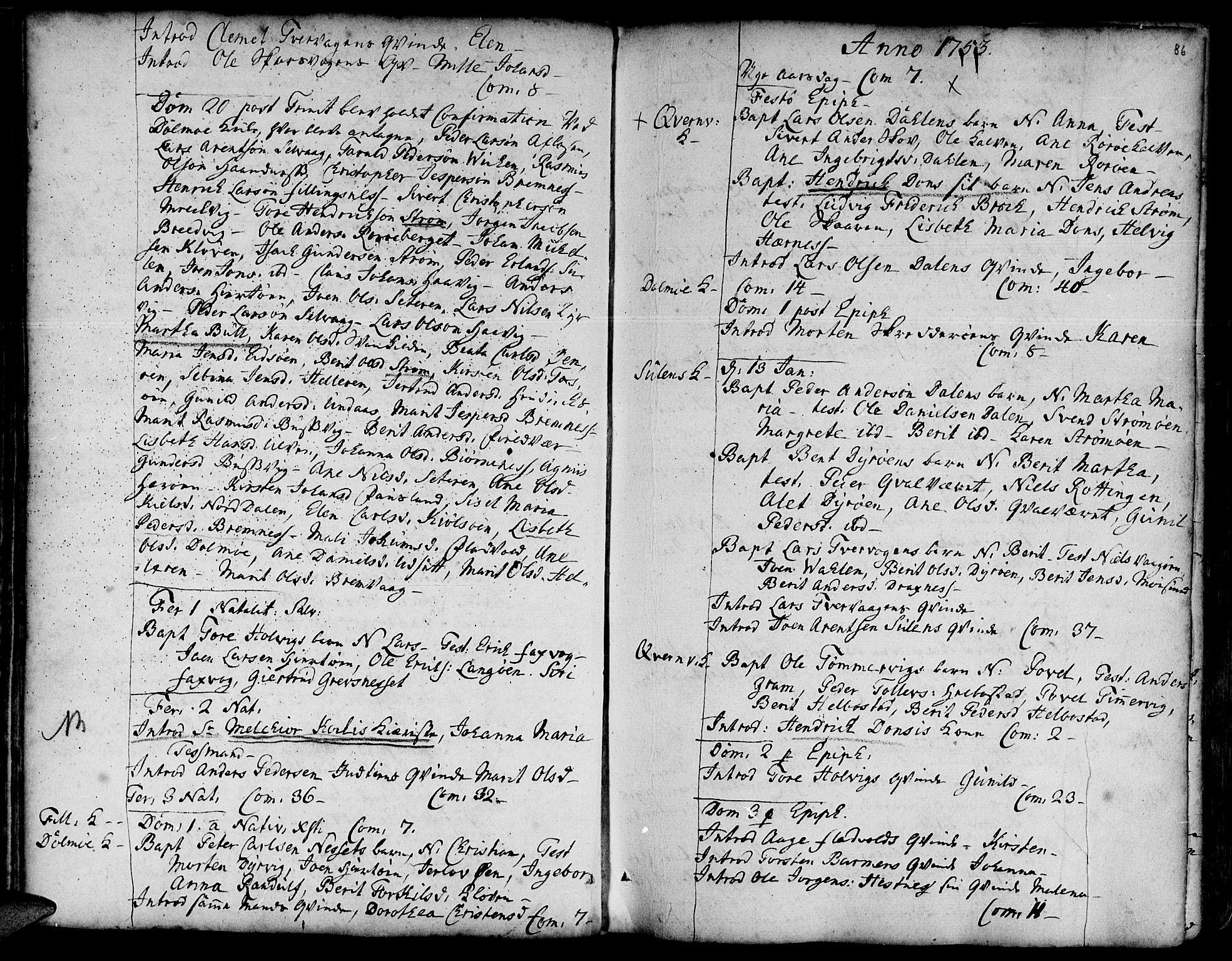 SAT, Ministerialprotokoller, klokkerbøker og fødselsregistre - Sør-Trøndelag, 634/L0525: Ministerialbok nr. 634A01, 1736-1775, s. 86