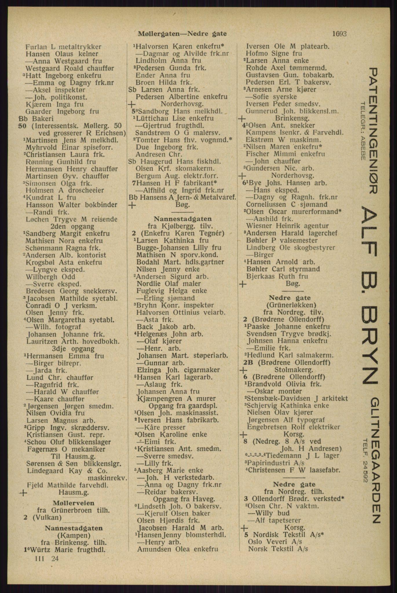RA, Oslo adressebok (publikasjon)*, 1929, s. 1693