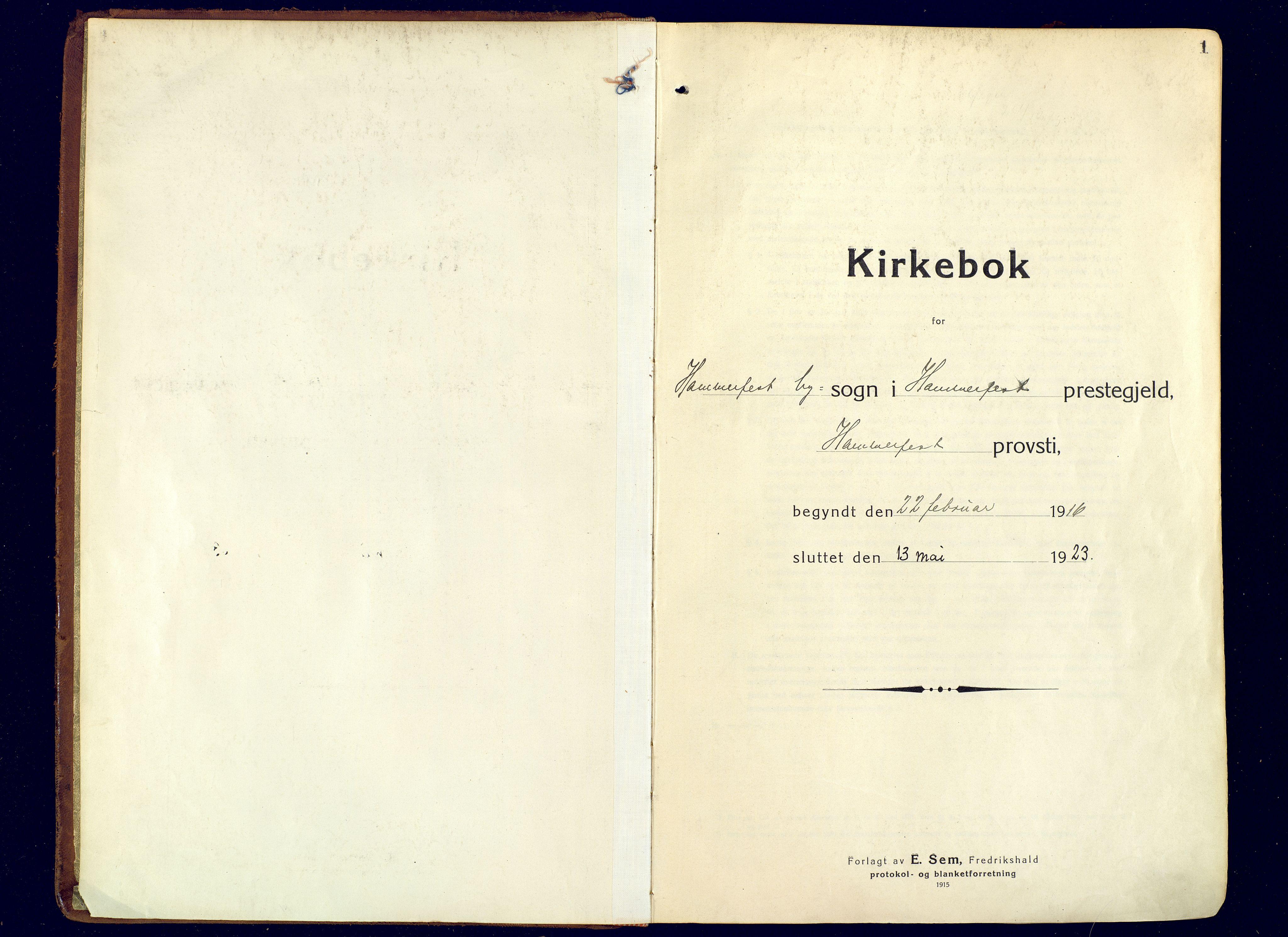 SATØ, Hammerfest sokneprestembete, Ministerialbok nr. 15, 1916-1923, s. 1